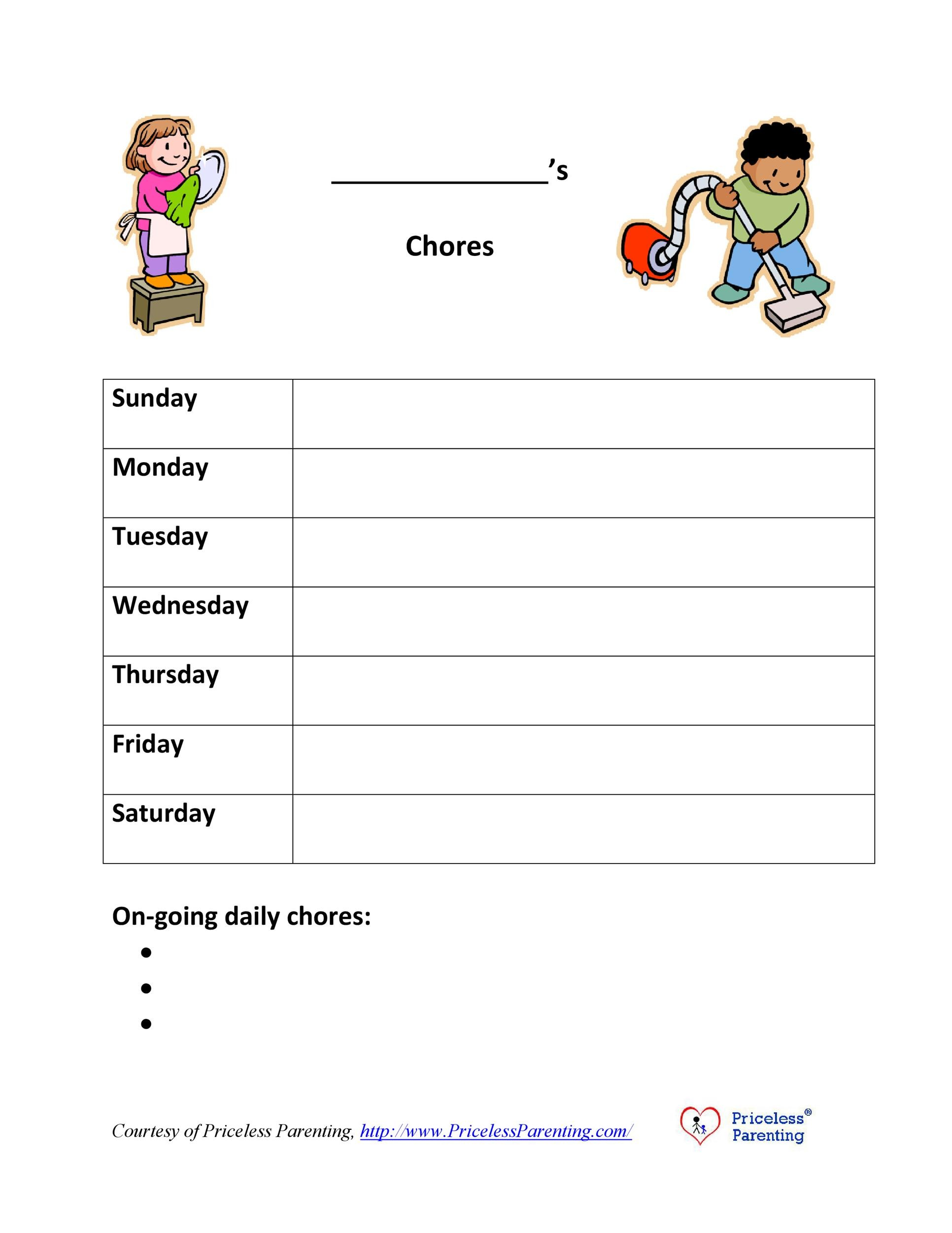 Free chore chart template 21