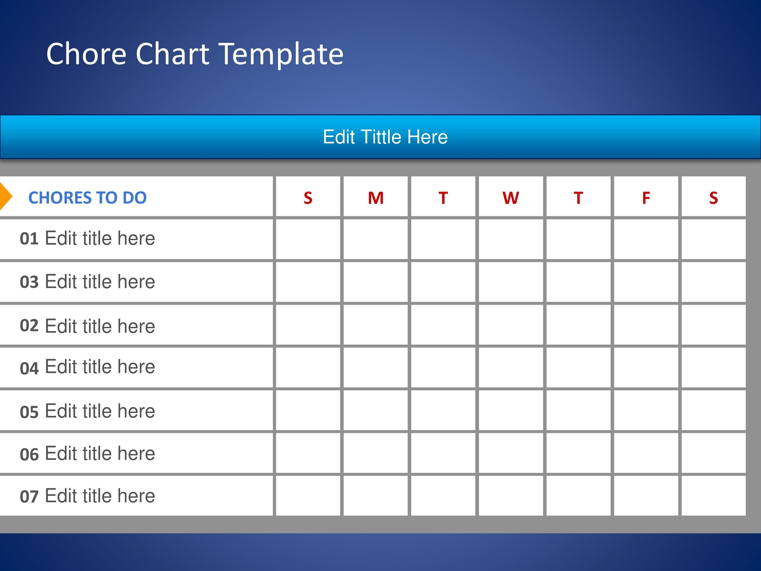 Free chore chart template 23