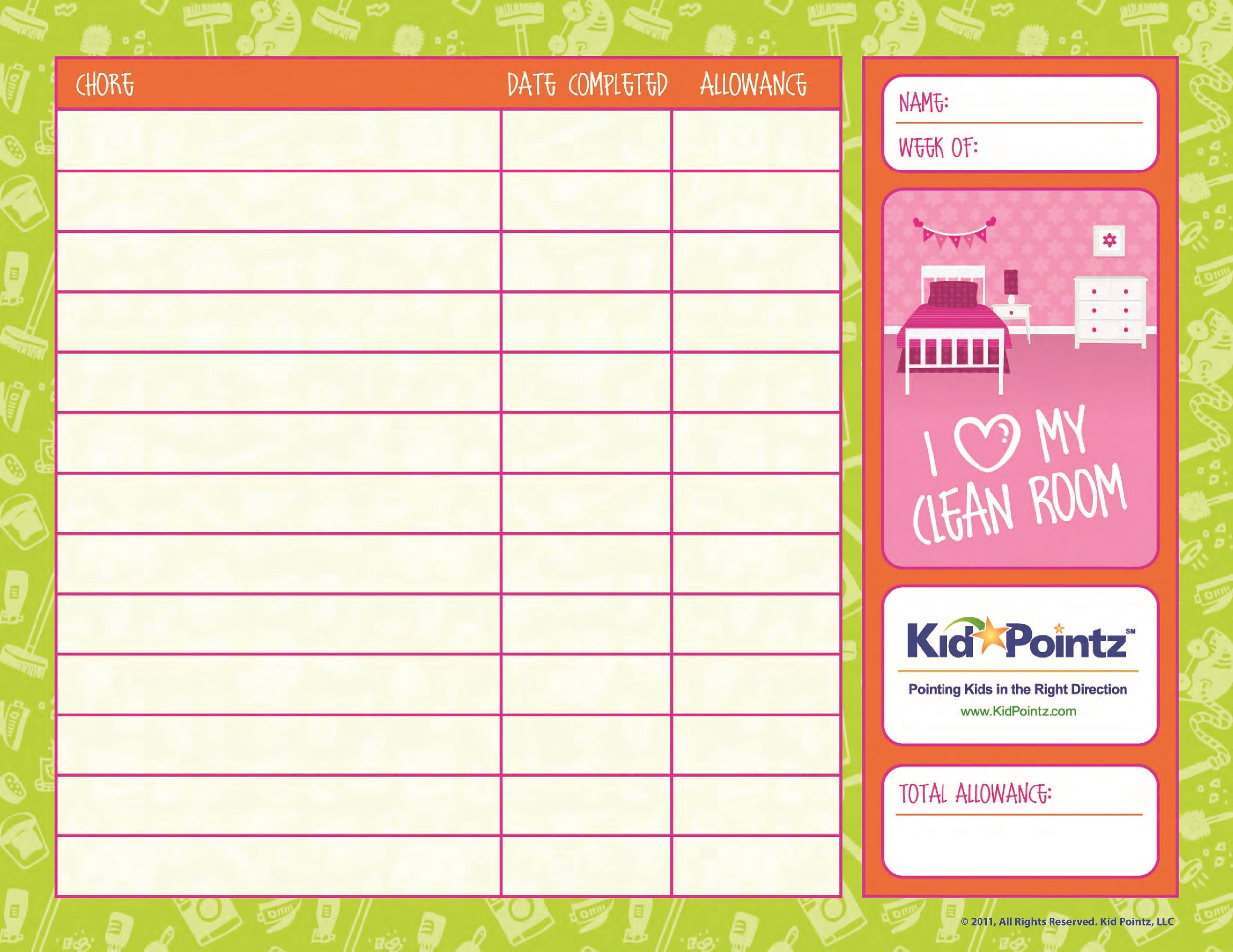 Free chore chart template 25