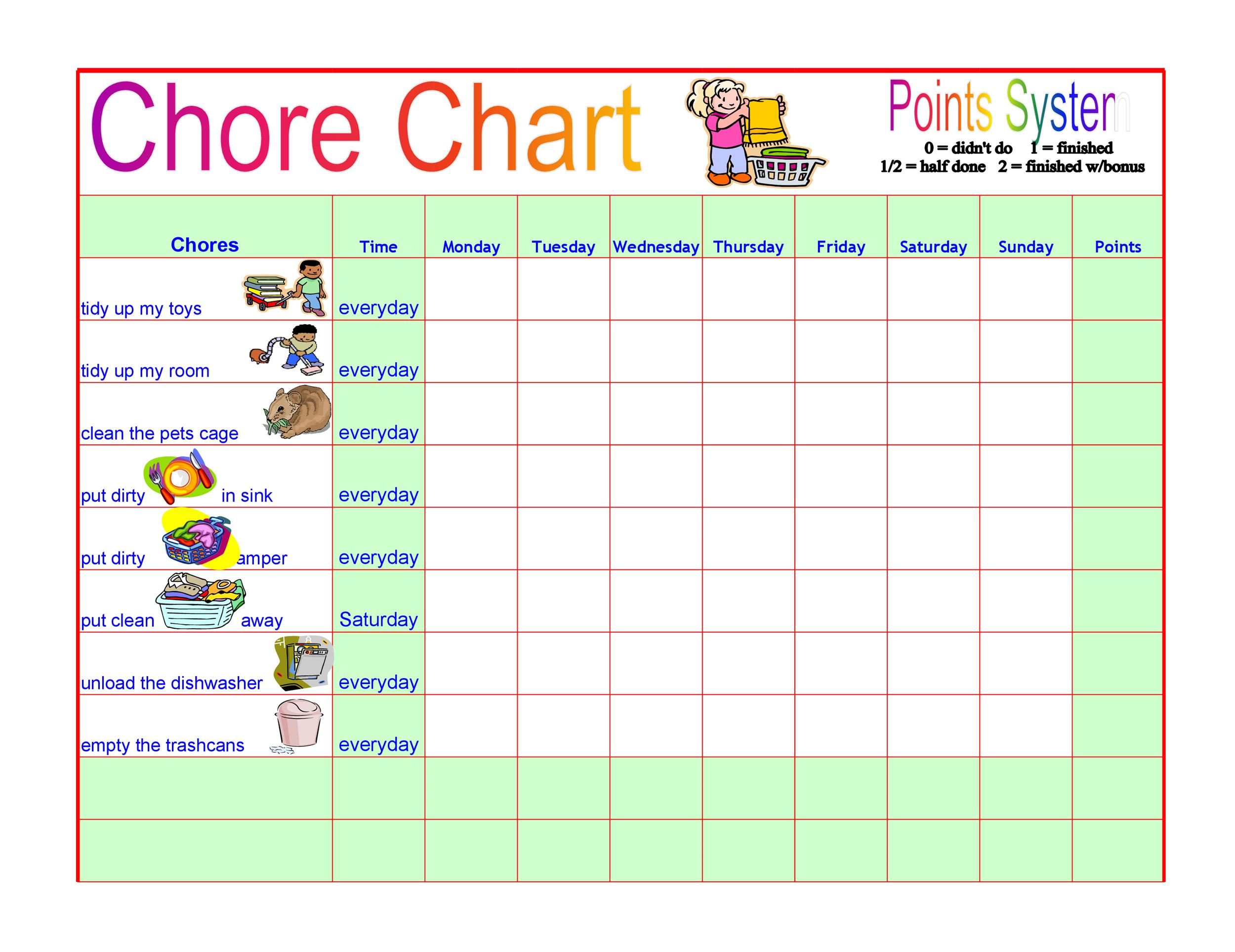 picture about Chore Chart Printable Free titled 43 Absolutely free Chore Chart Templates for Little ones ᐅ Template Lab