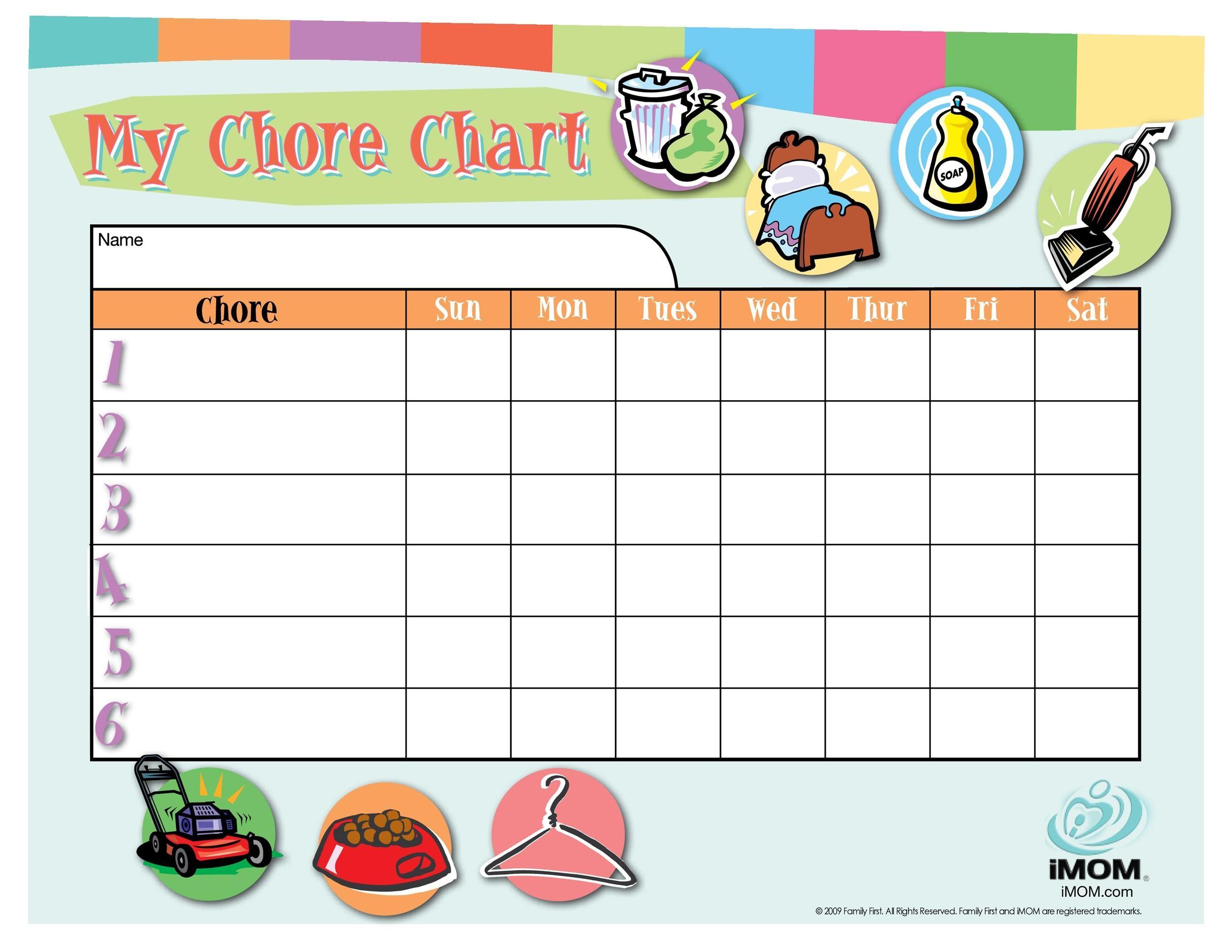 Free chore chart template 29