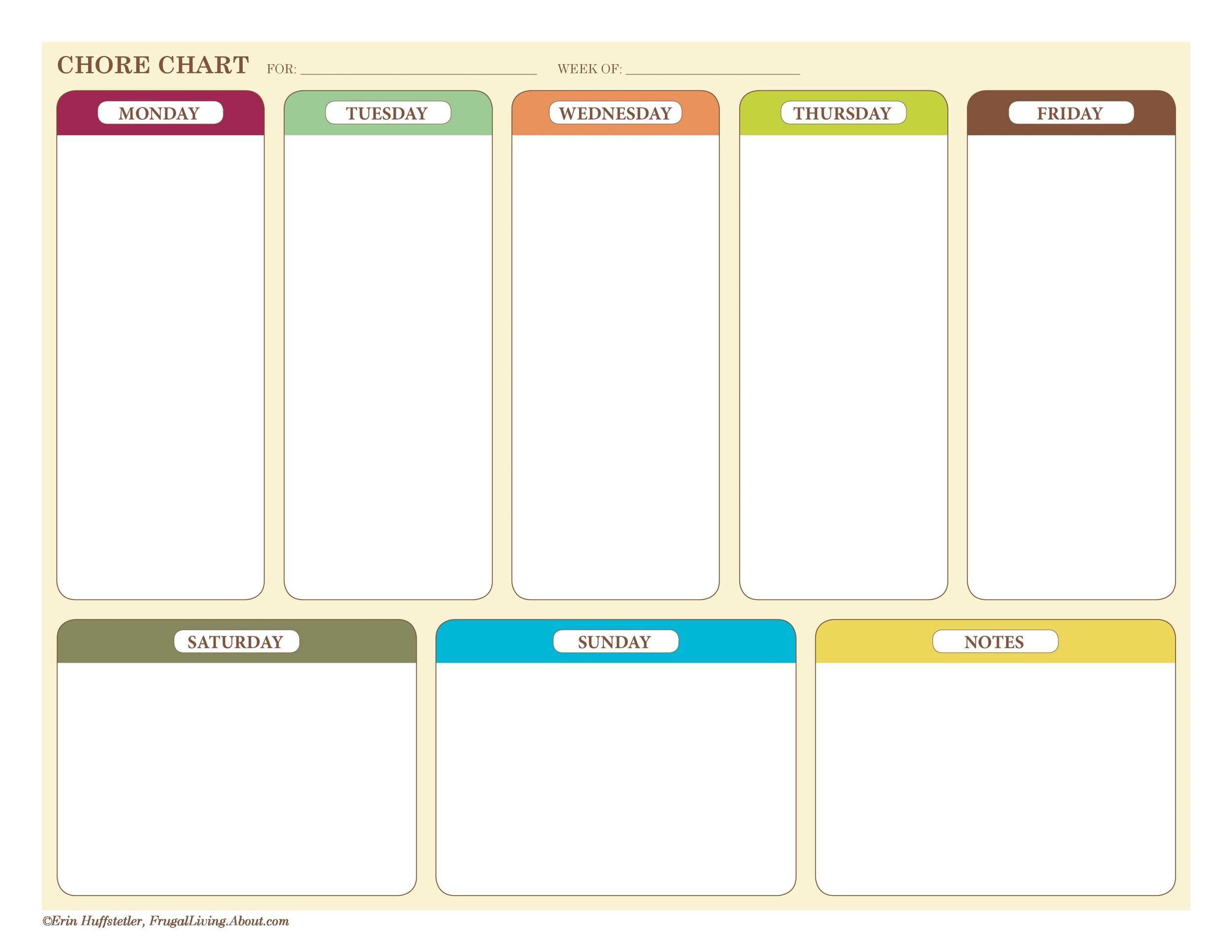 Free chore chart template 30