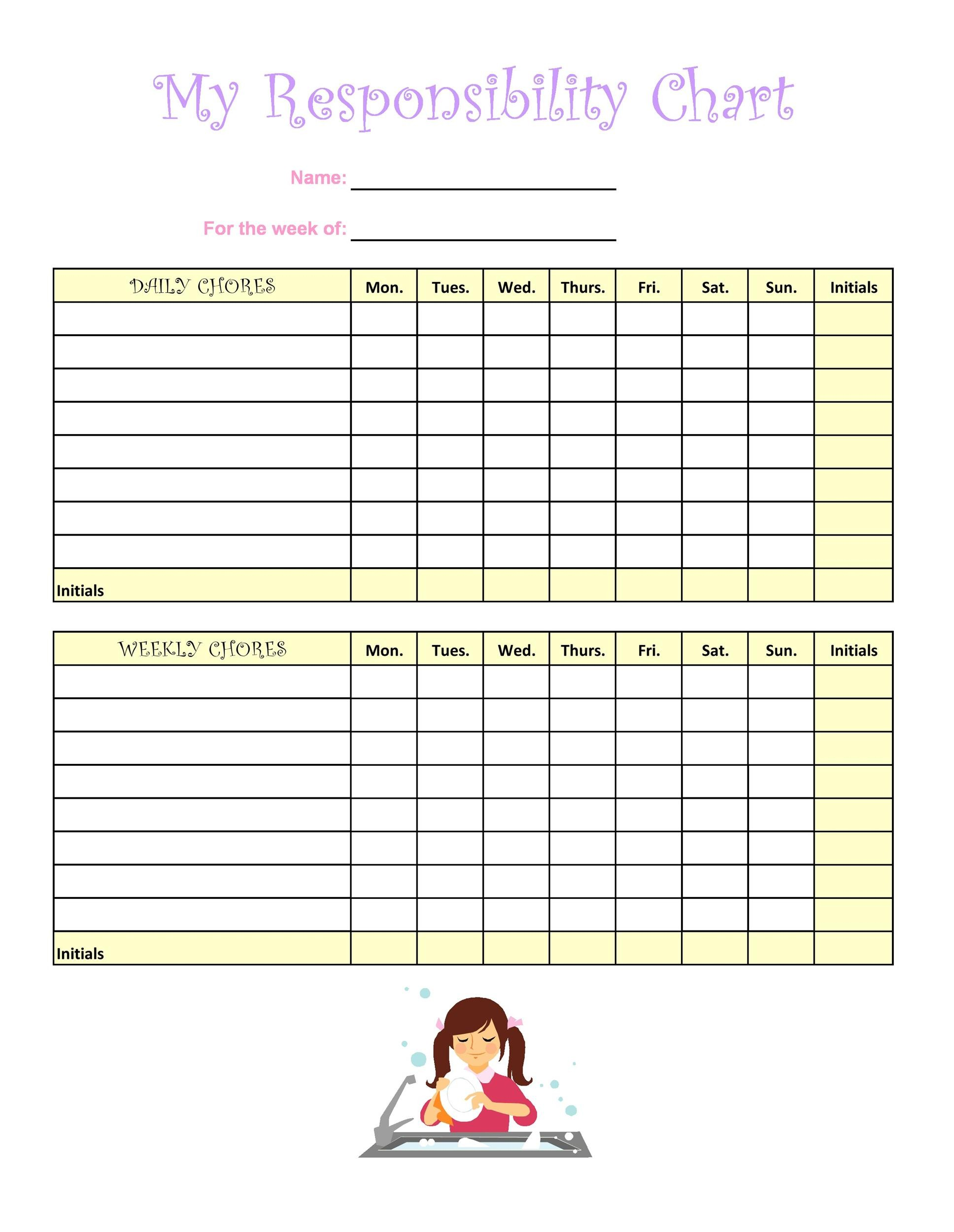 Free chore chart template 36