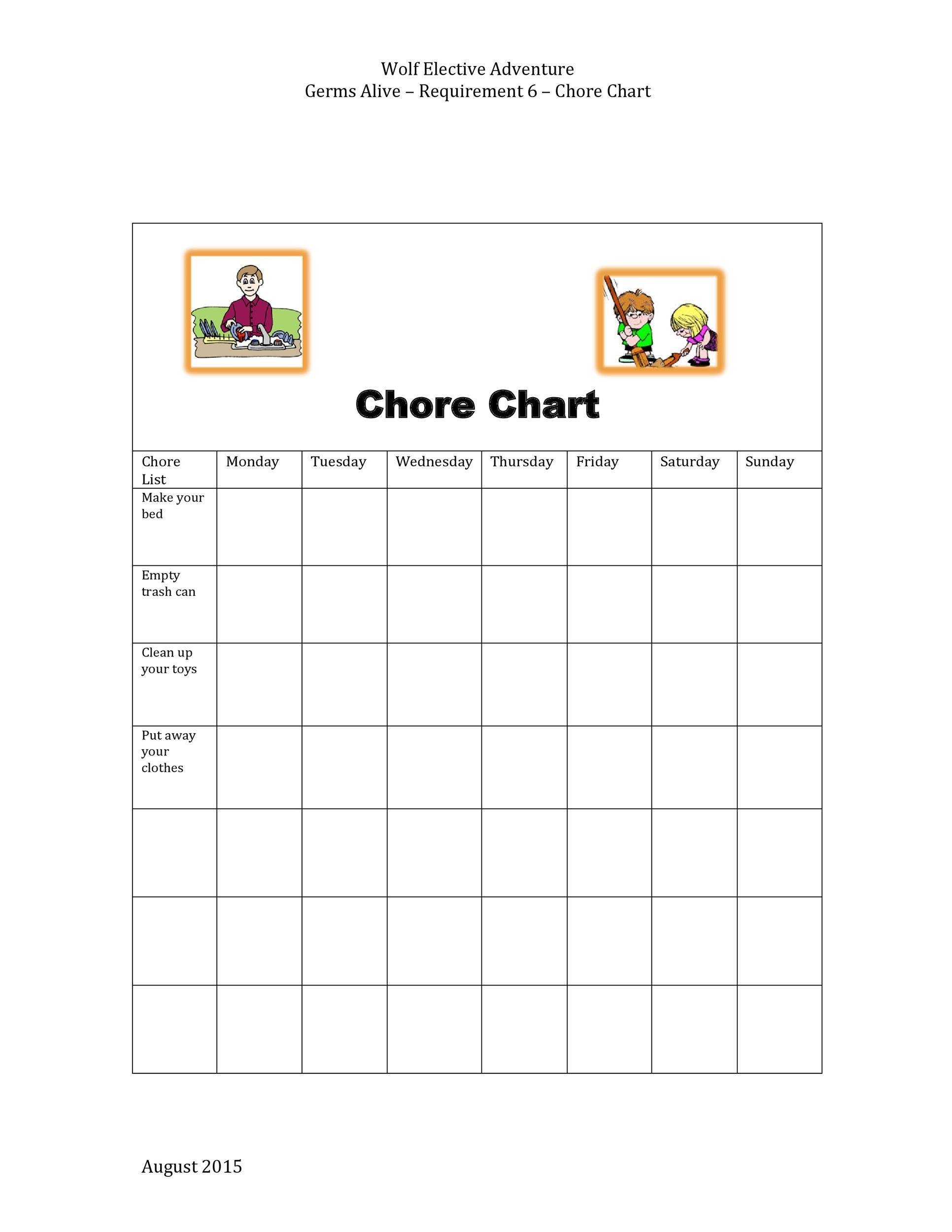 Free chore chart template 42