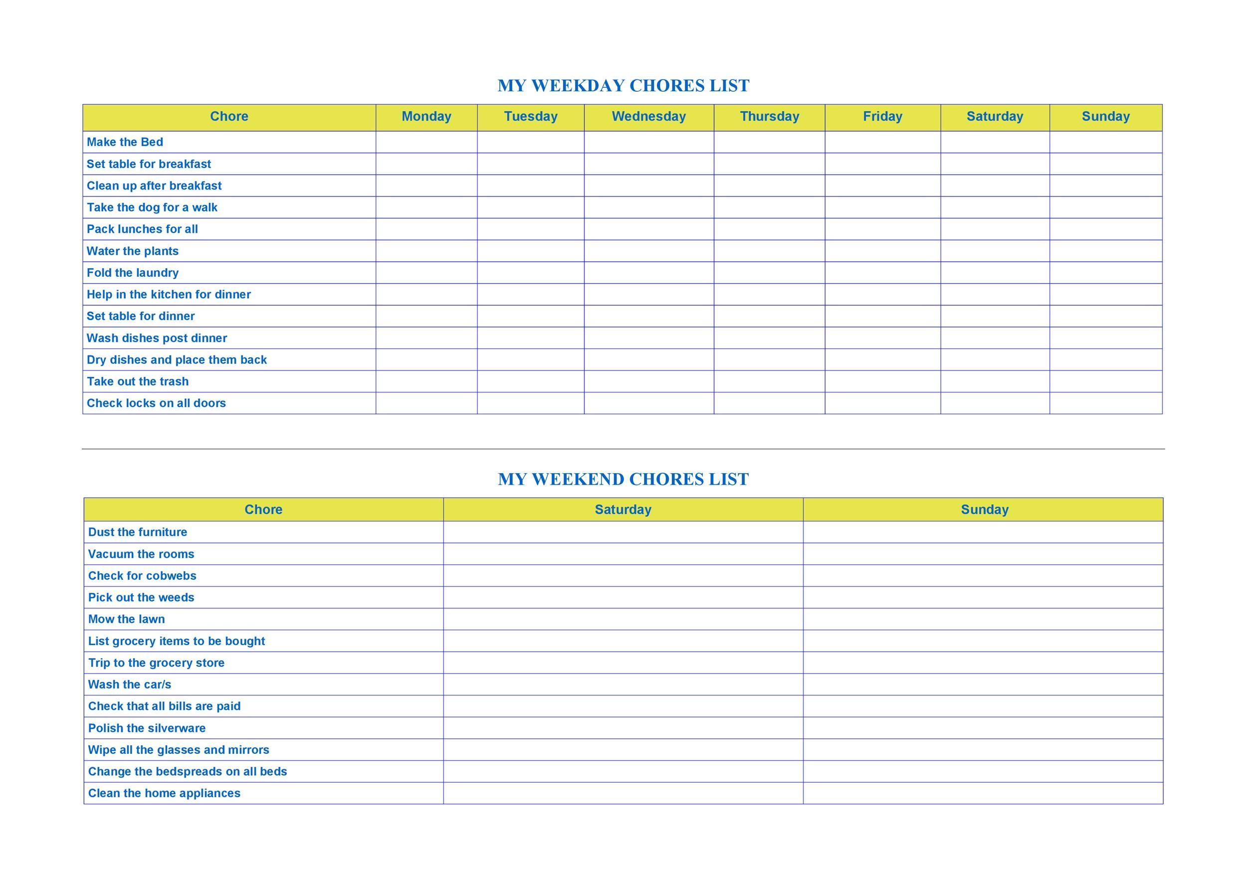 Free chore chart template 43