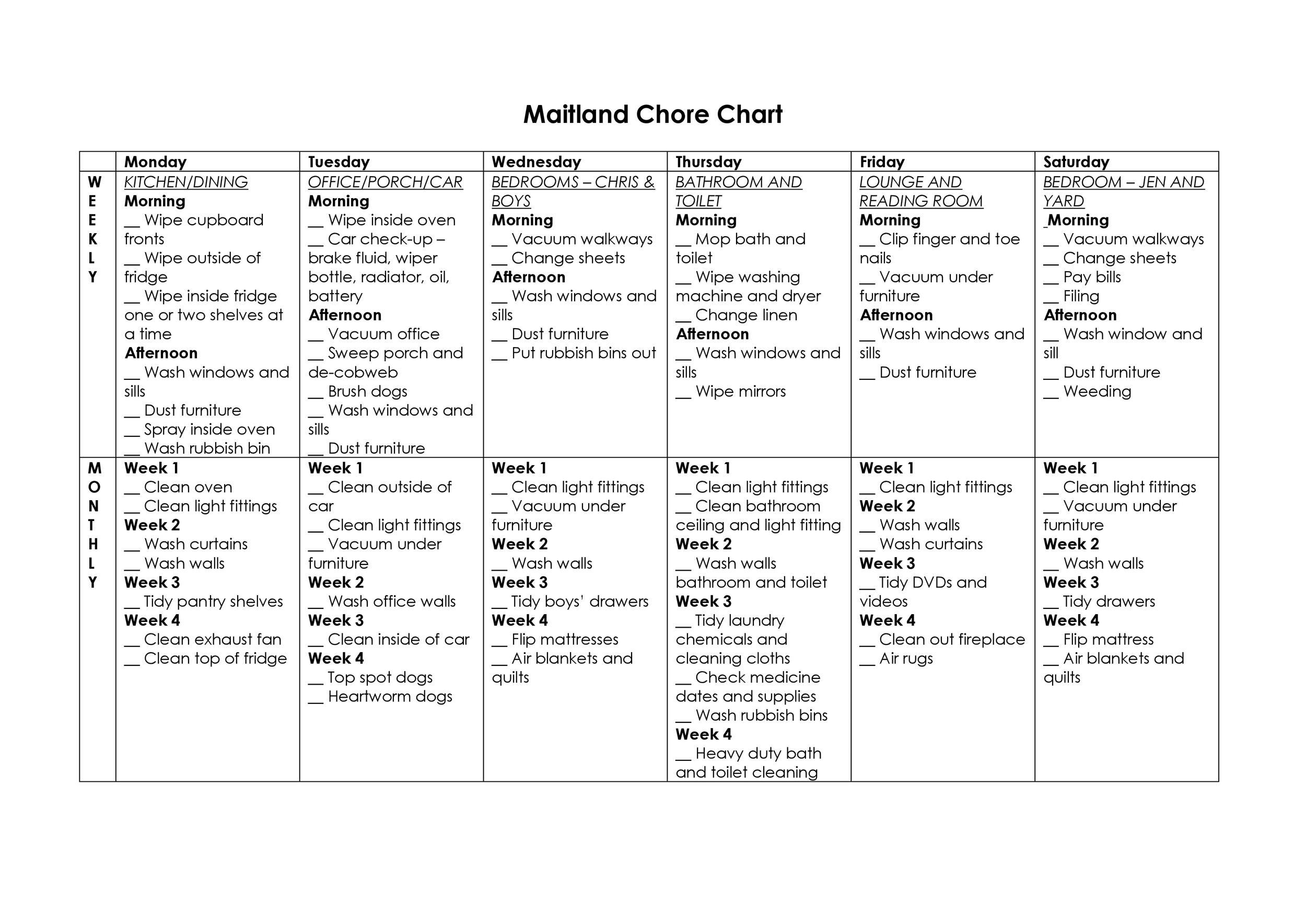 46 Free Chore Chart Templates For Kids Á… Templatelab