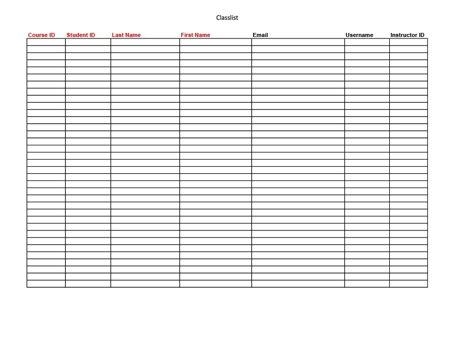 Free class roster template 20