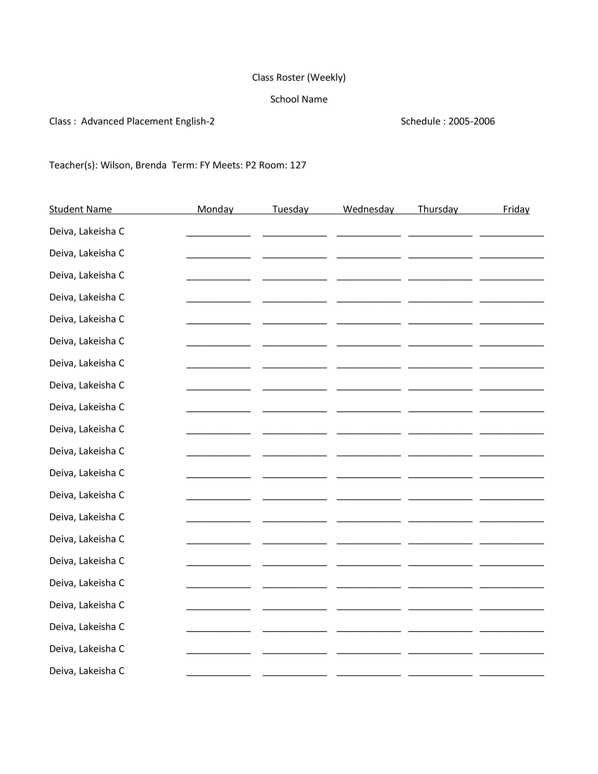 37 Class Roster Templates [Student Roster Templates for