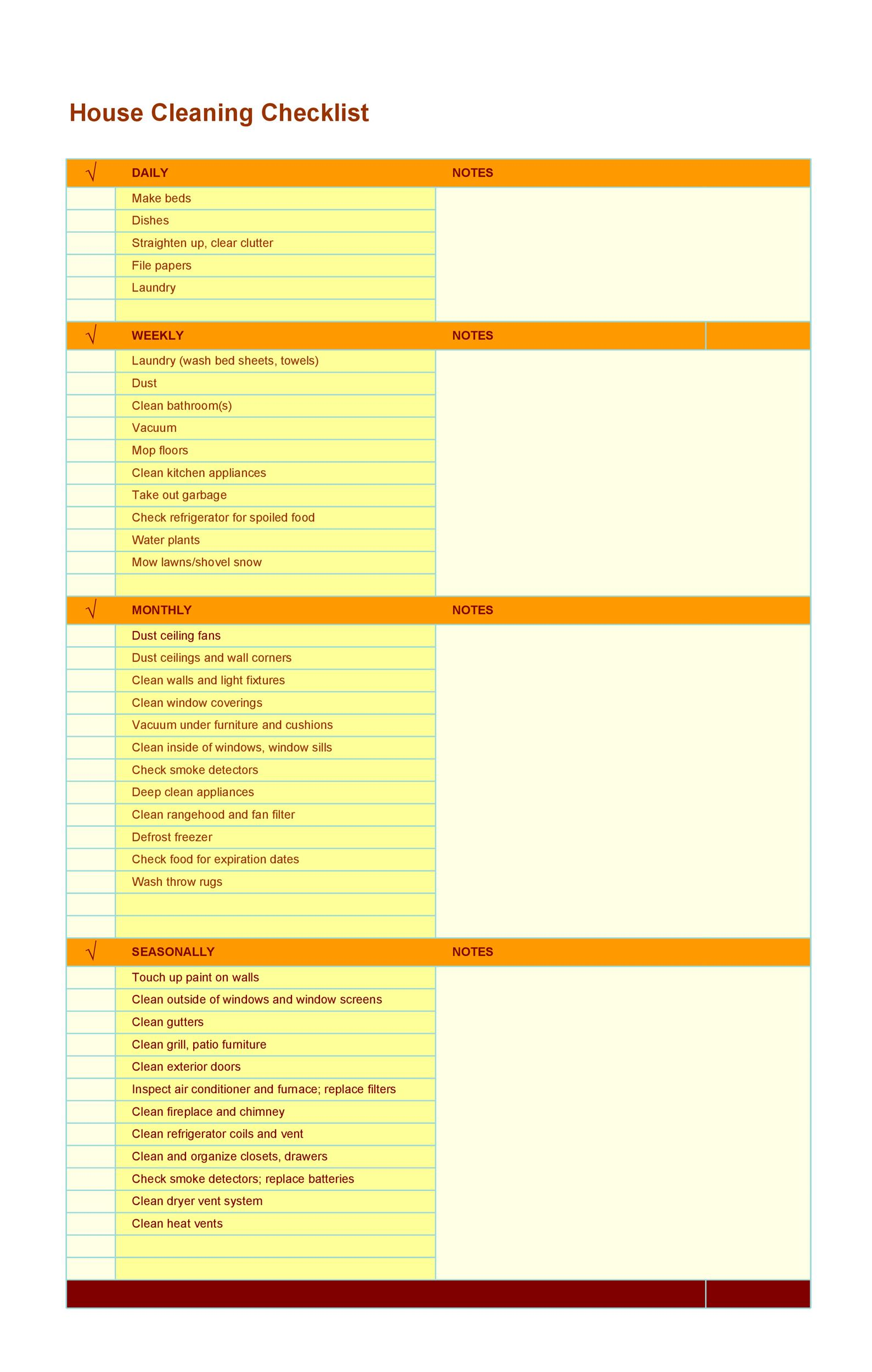 40 Printable House Cleaning Checklist Templates Á… Templatelab