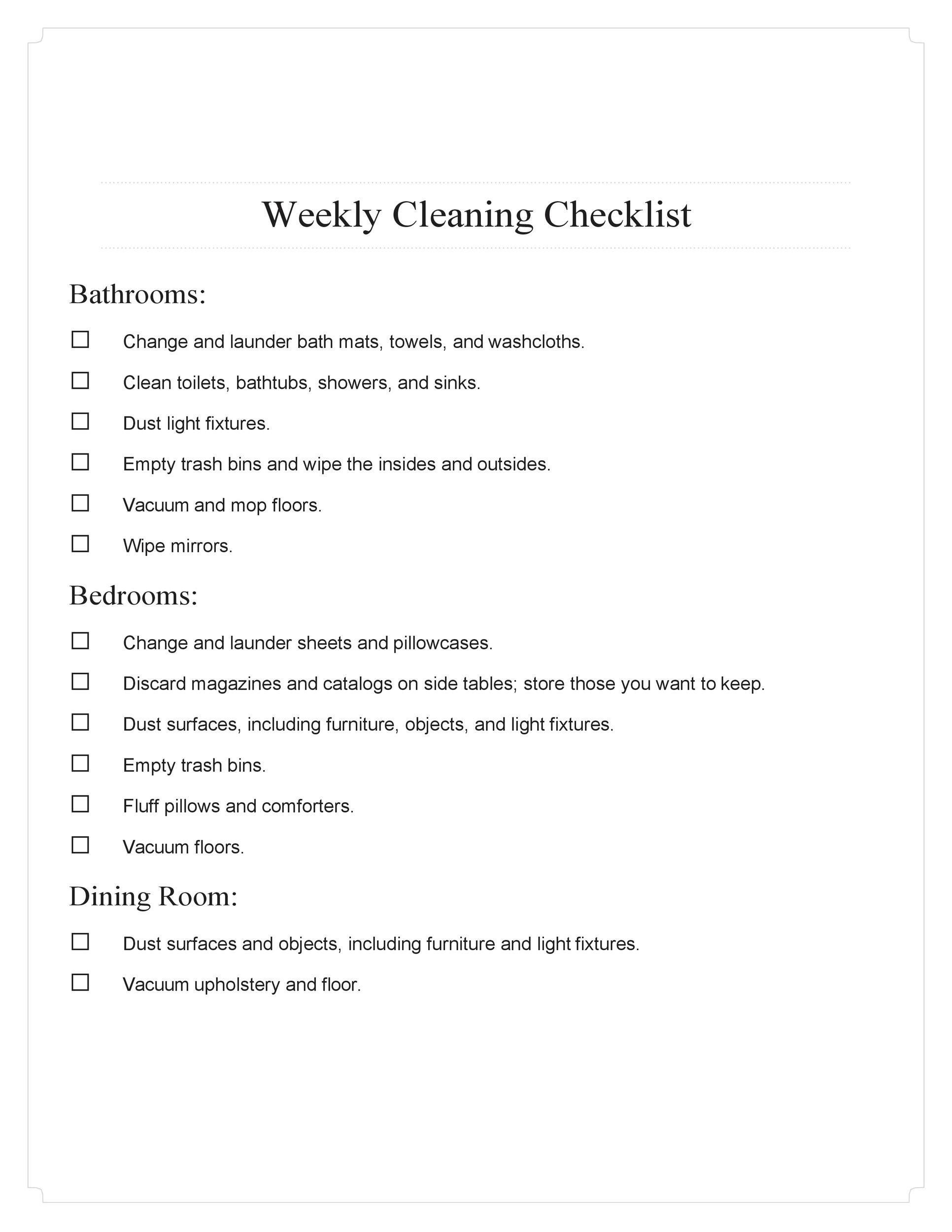 Free house cleaning checklist 13