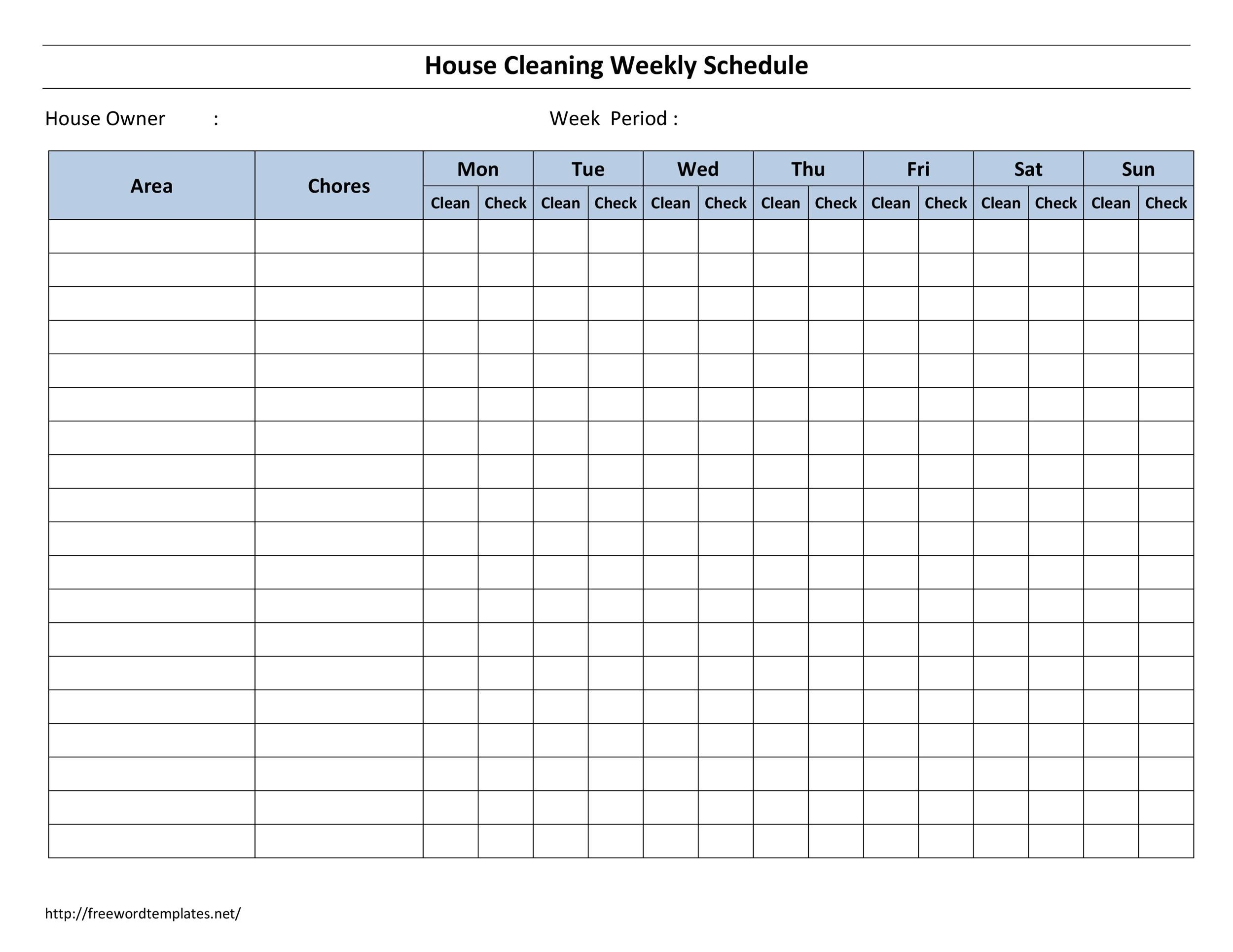 Free house cleaning checklist 24