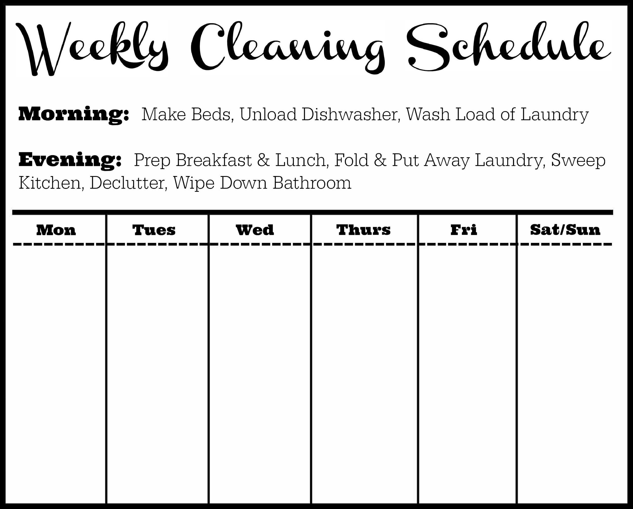 Image result for cleaning schedule