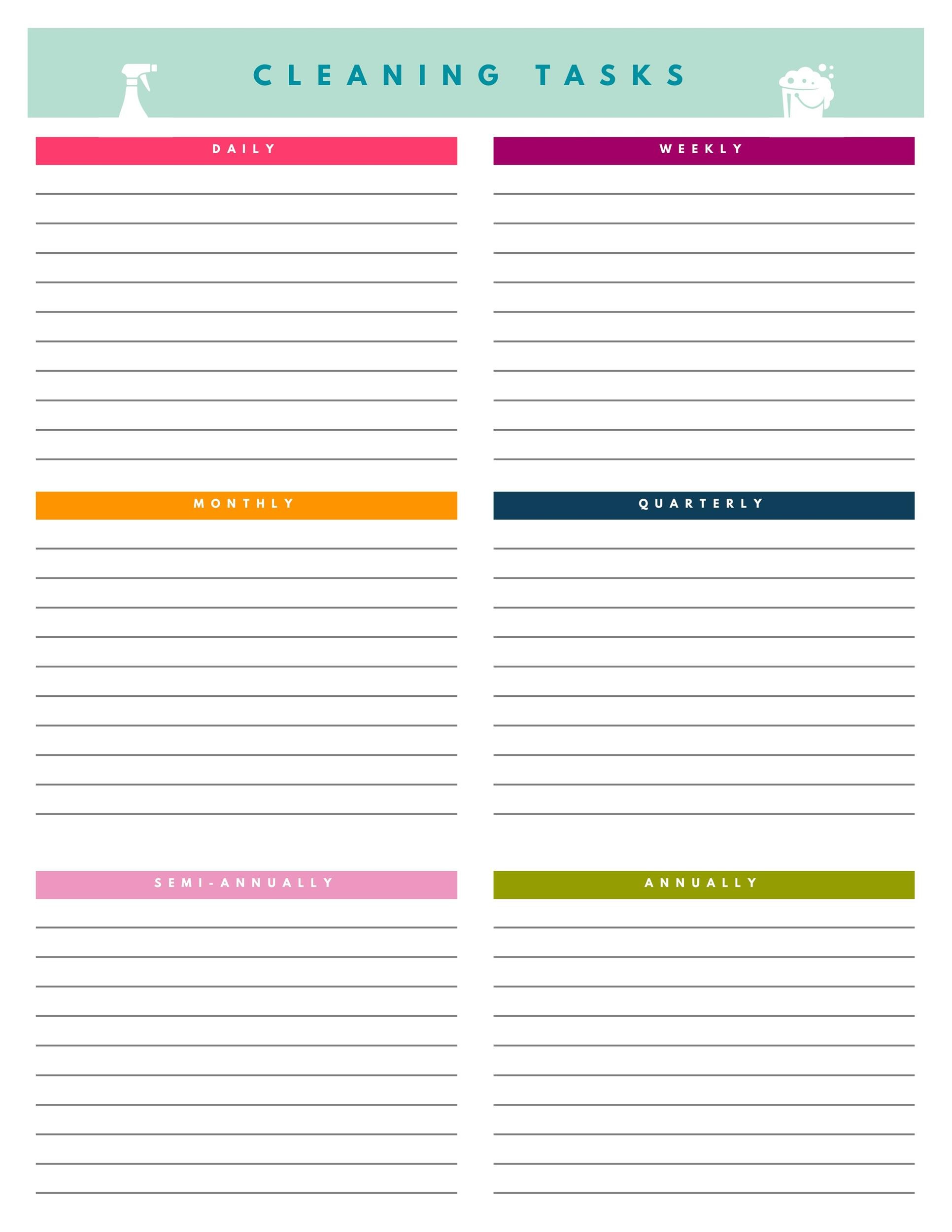 Obsessed image with cleaning checklist printables