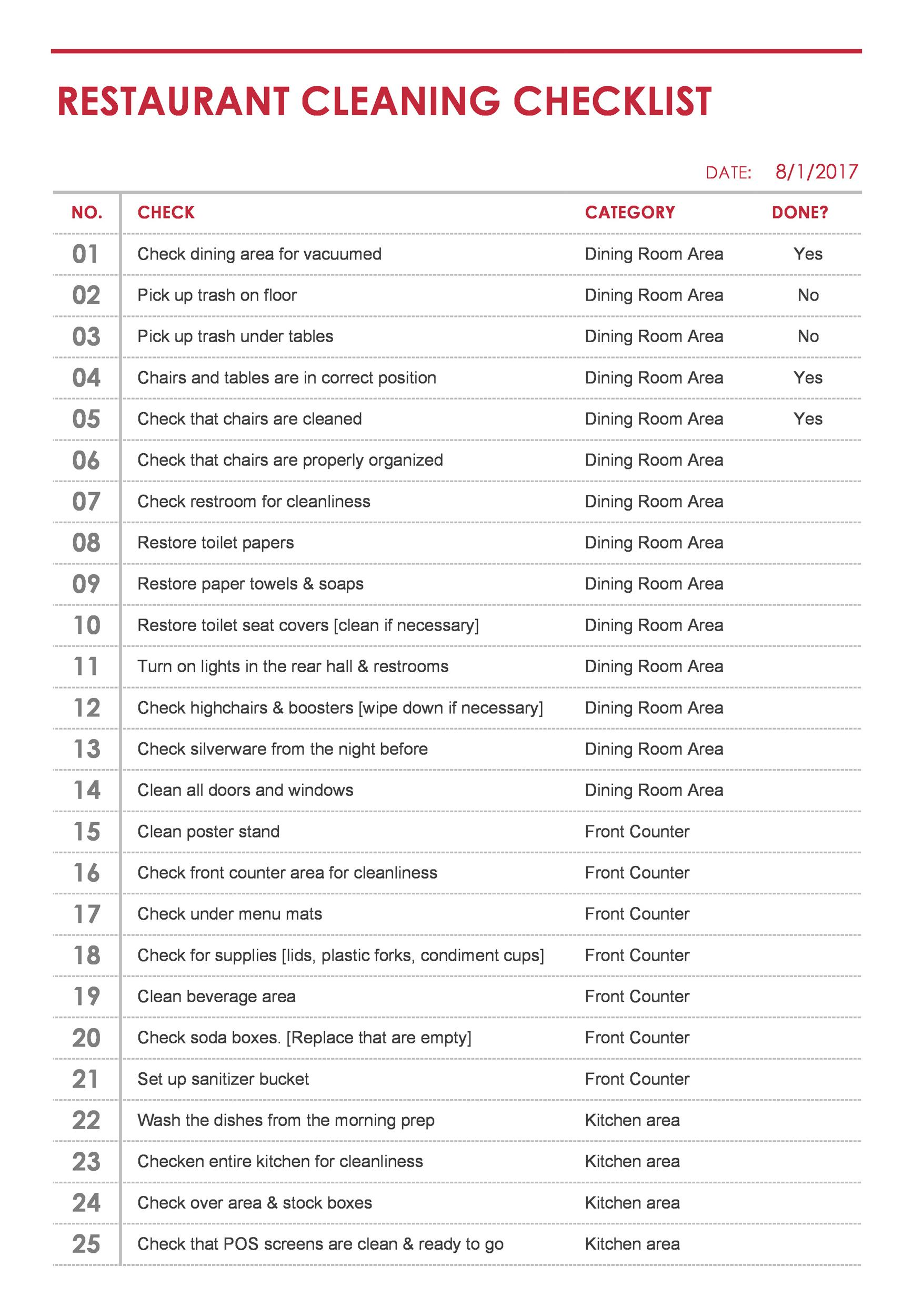 Free house cleaning checklist 38