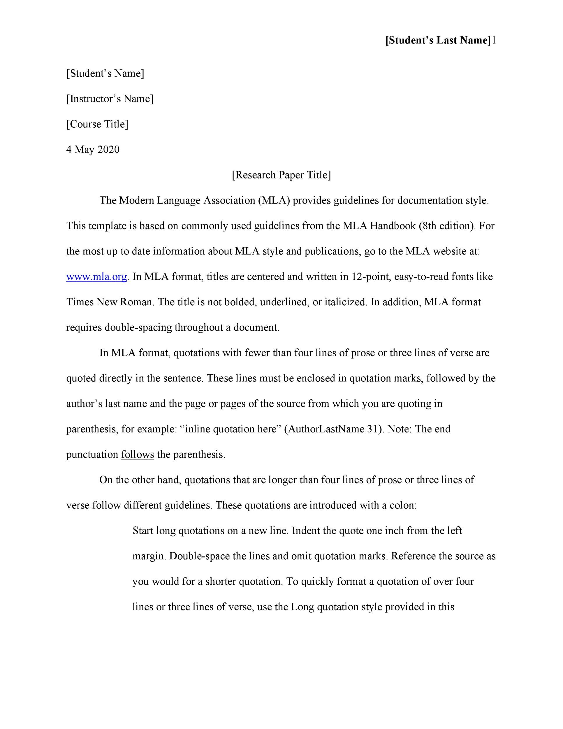 Free Mla Format Templates Mla Essay Format  Template Lab Free Mla Format Template  Synthesis Example Essay also Science Essay Ideas  Sample Of Research Essay Paper