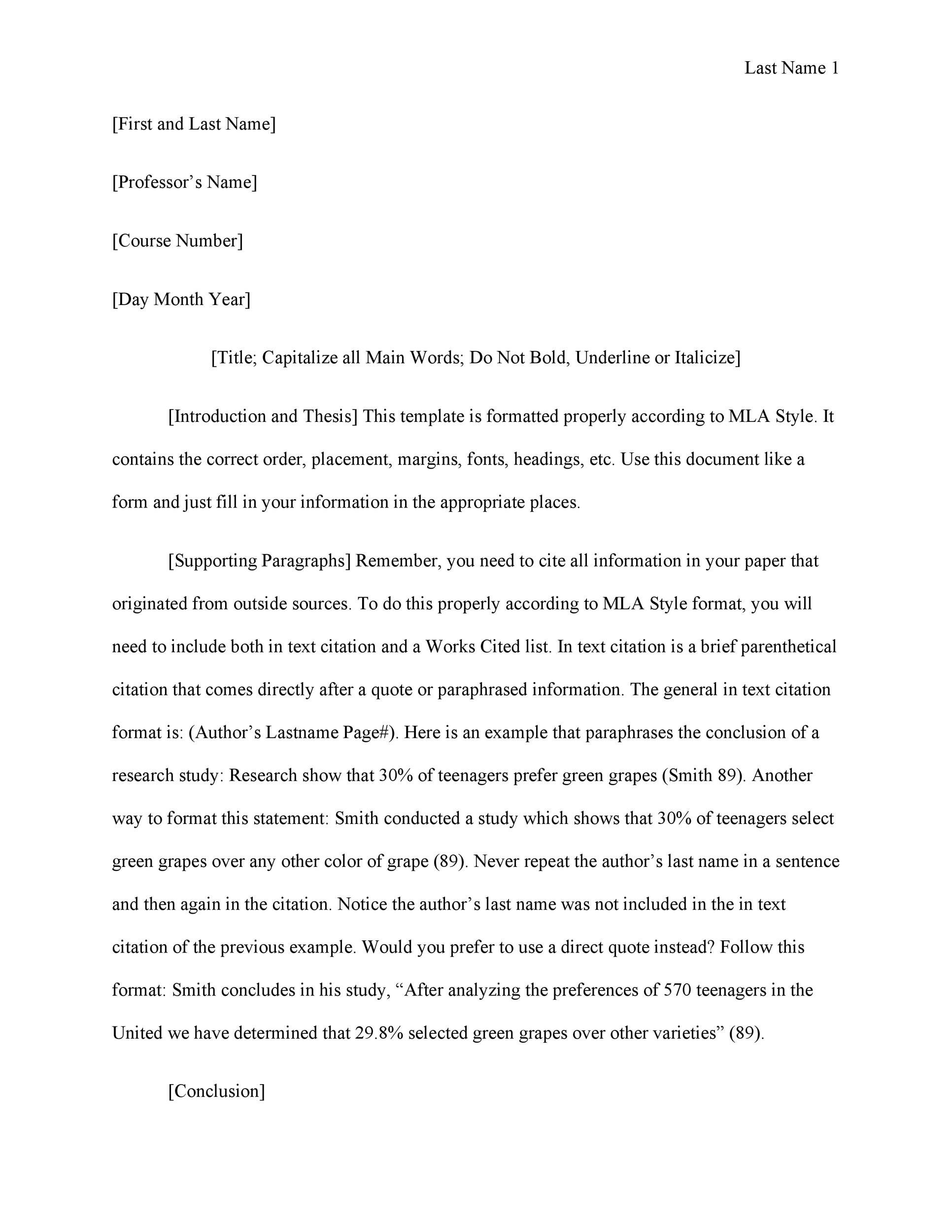 Free mla format template 13