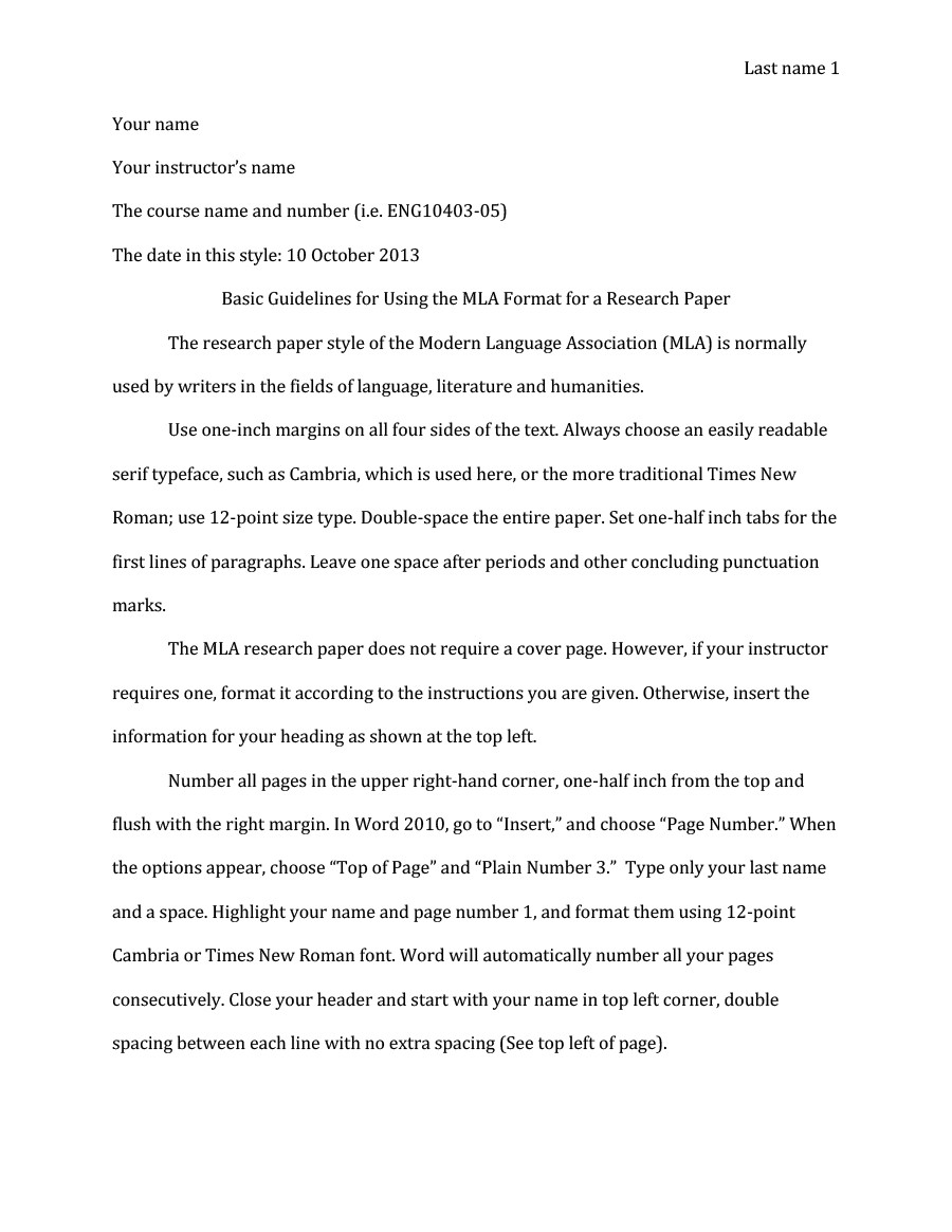 Research Paper Templates Free Mla Format Template 20