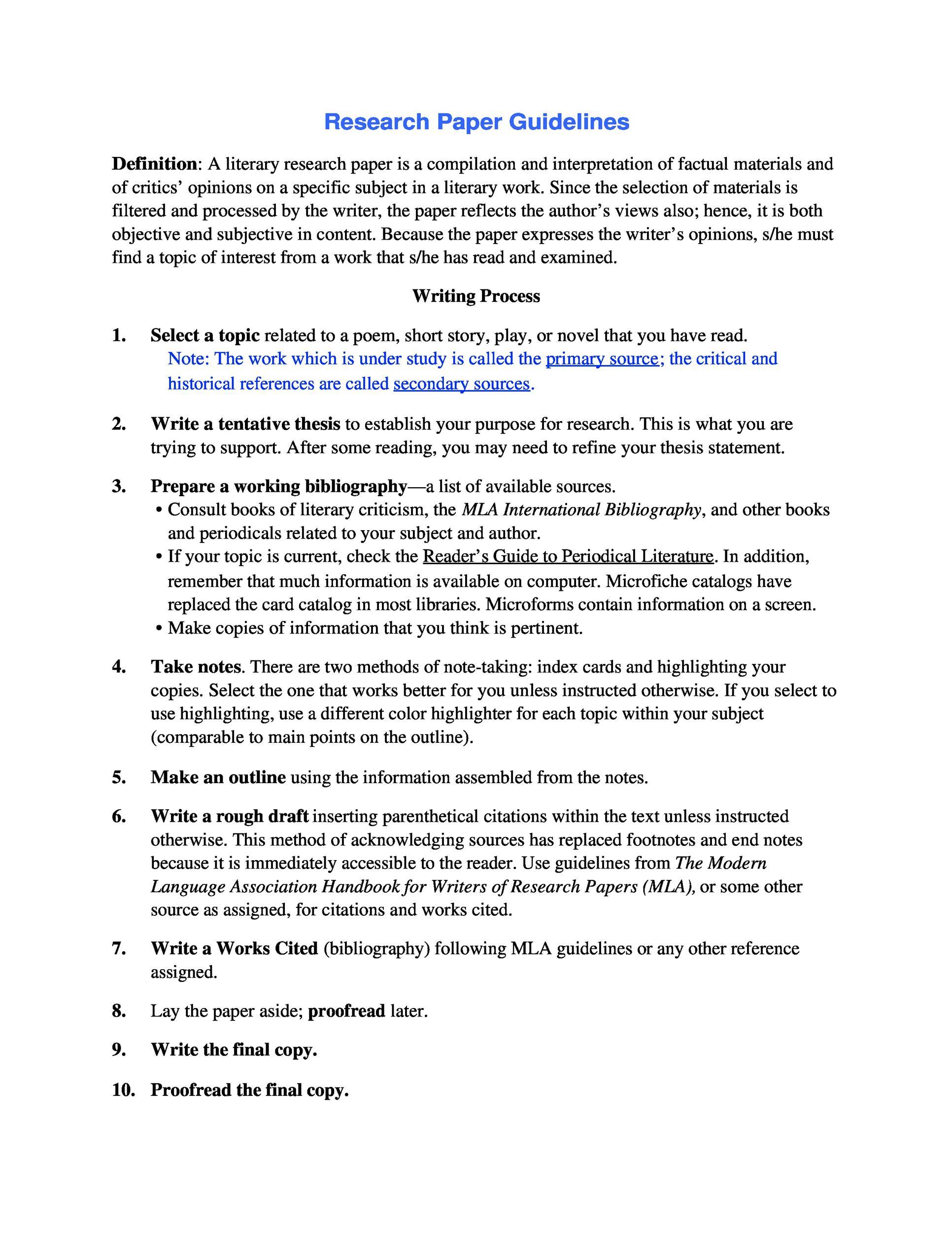 mla research paper template