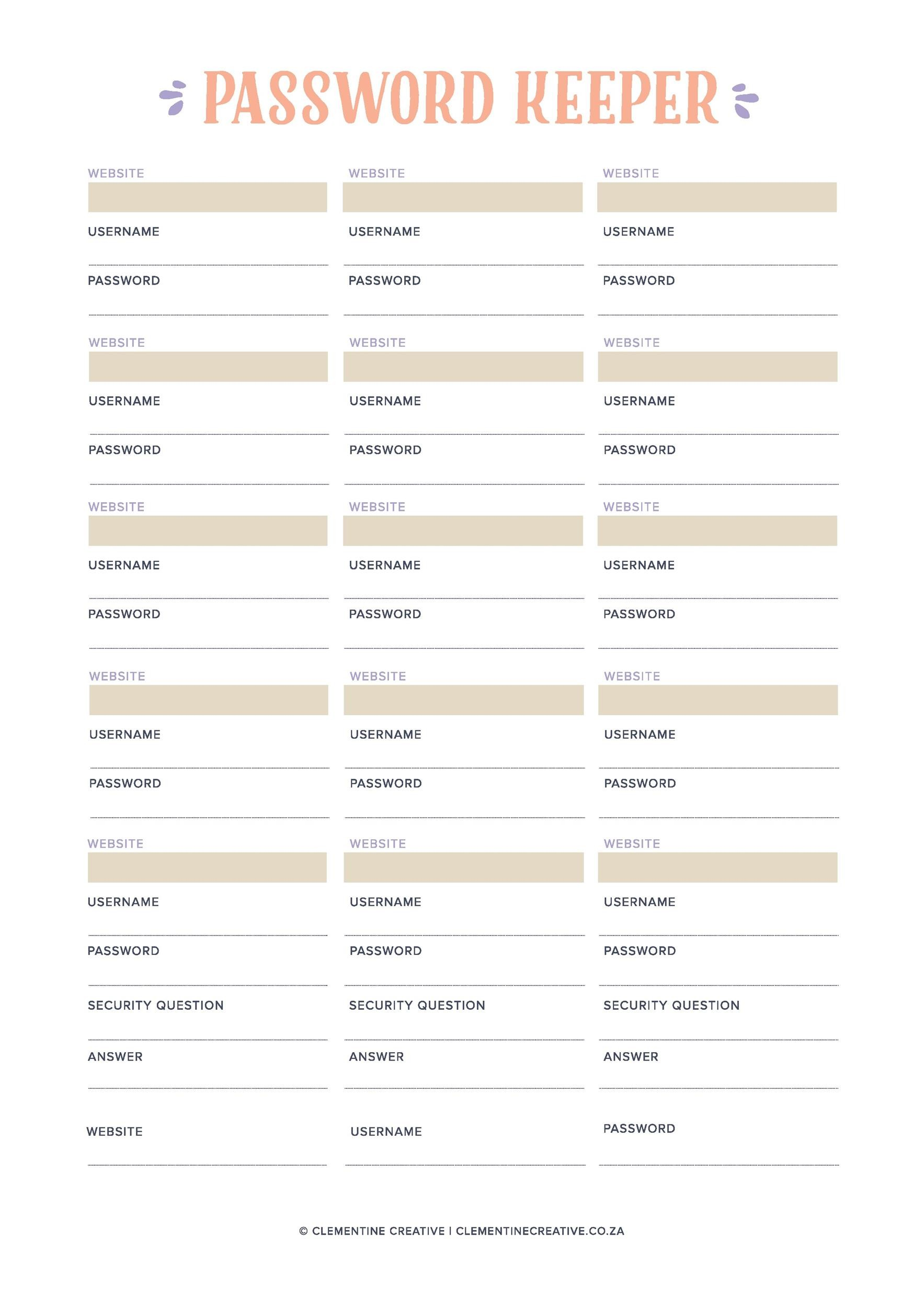 Free password list template 12