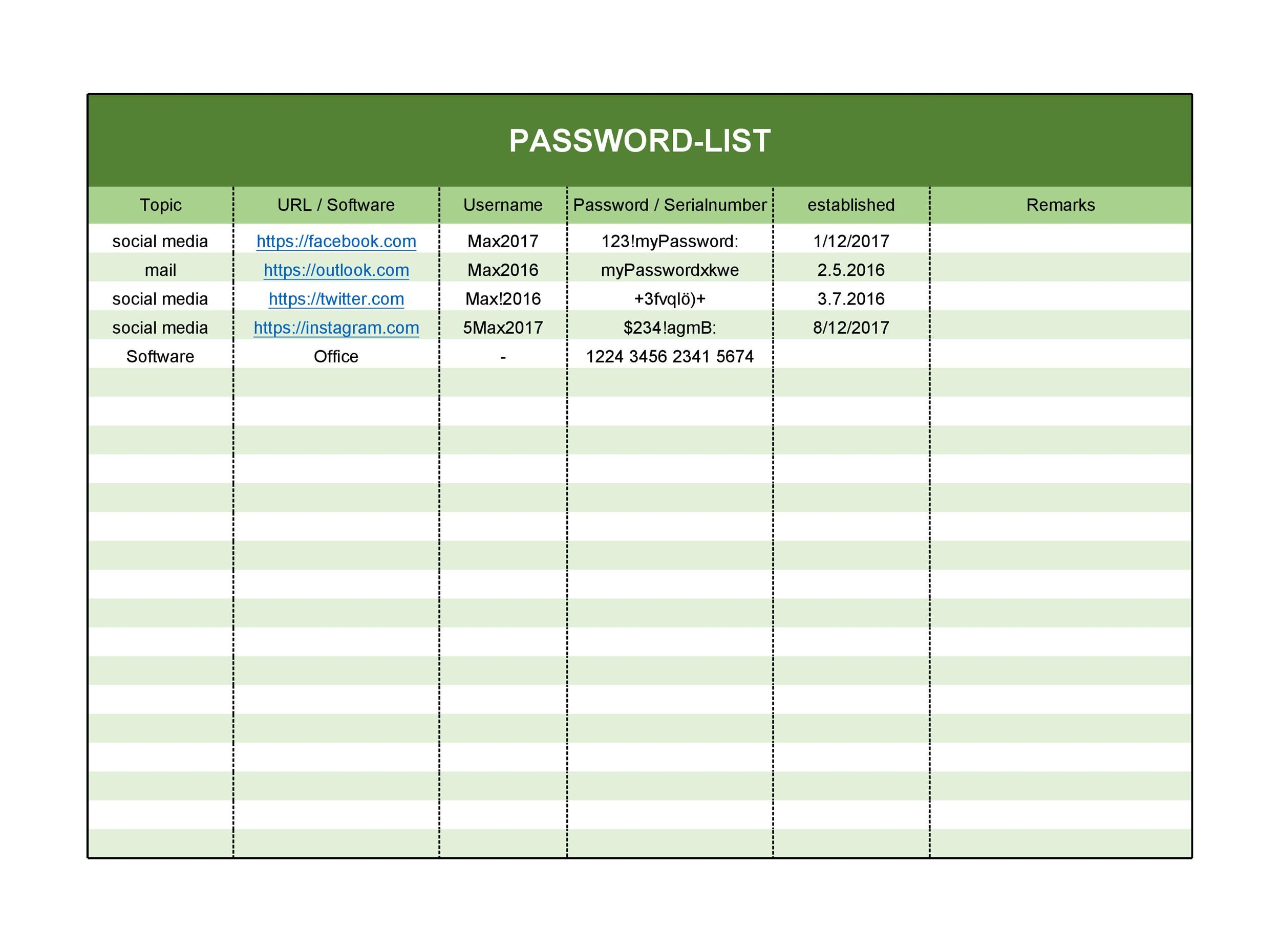 Password Template Excel from templatelab.com