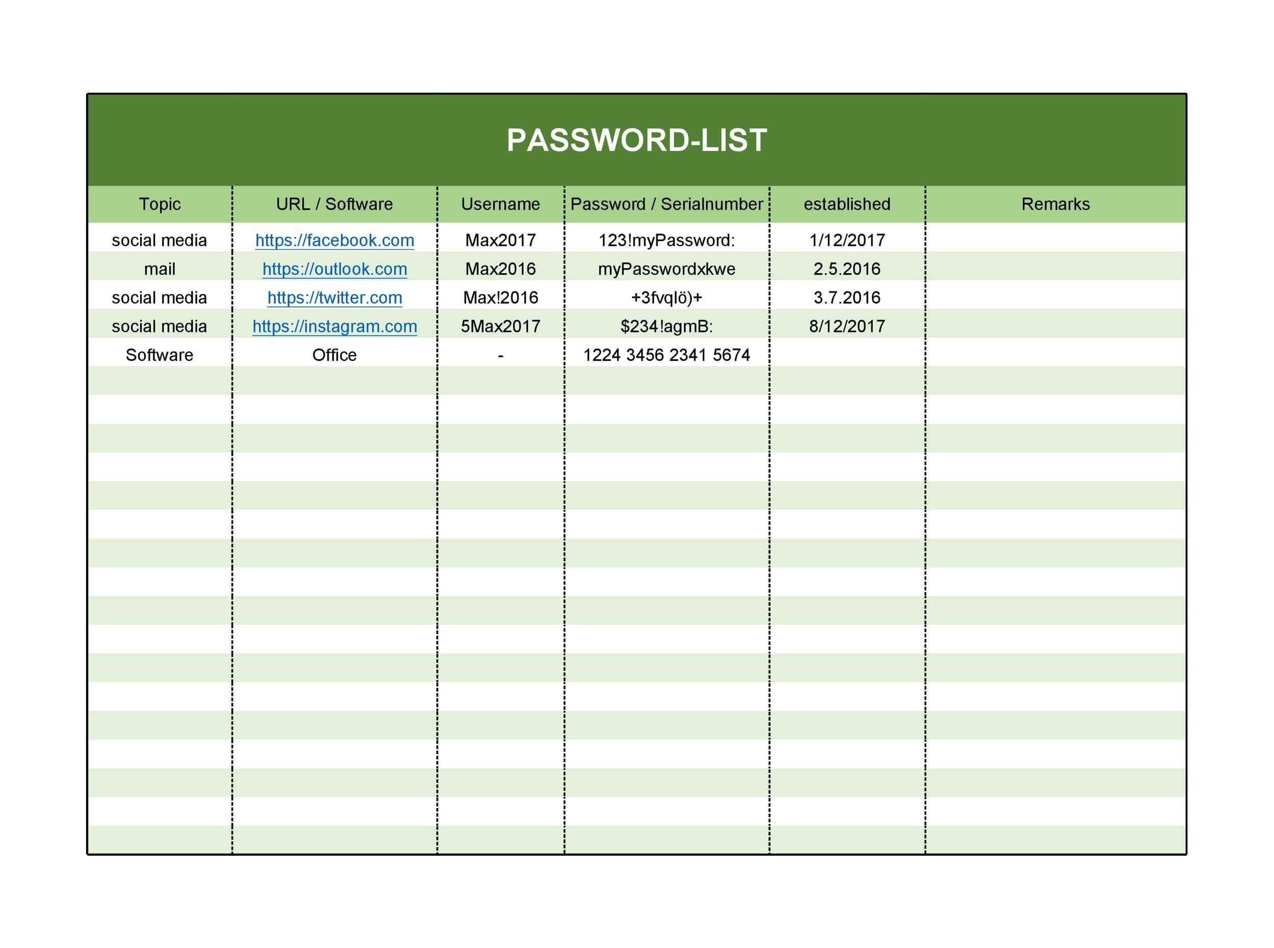 Free password list template 15