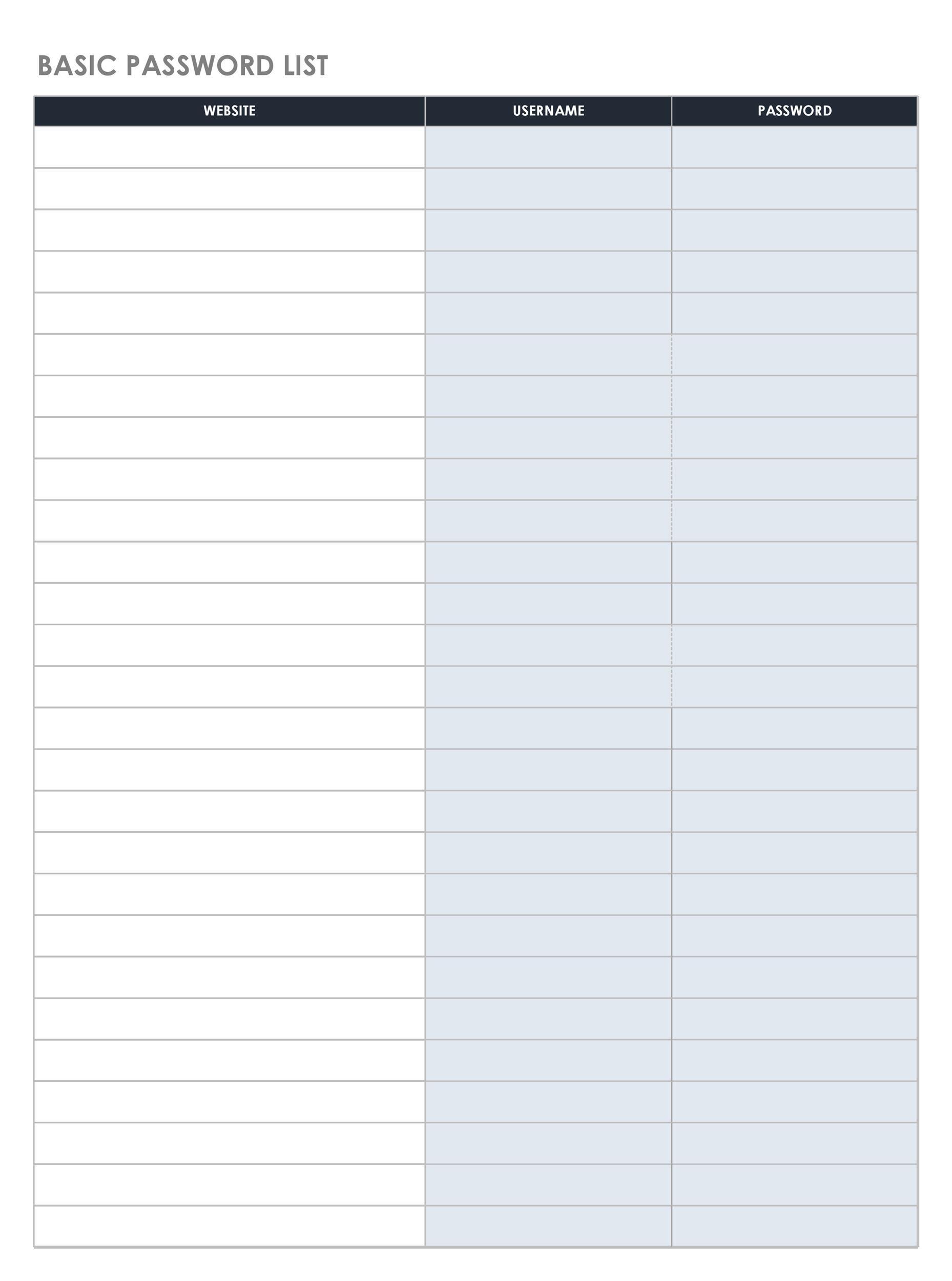 Free password list template 27