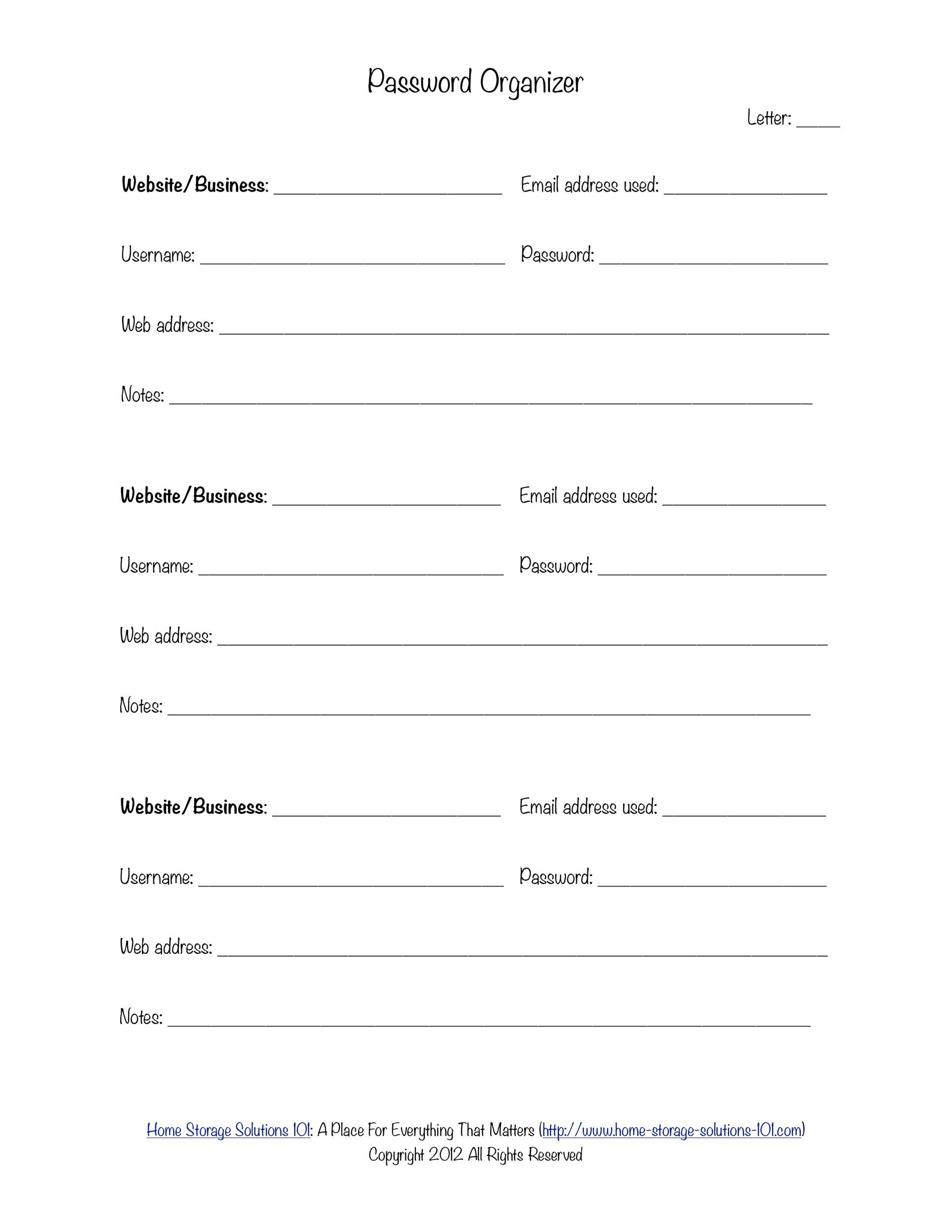Free password list template 36