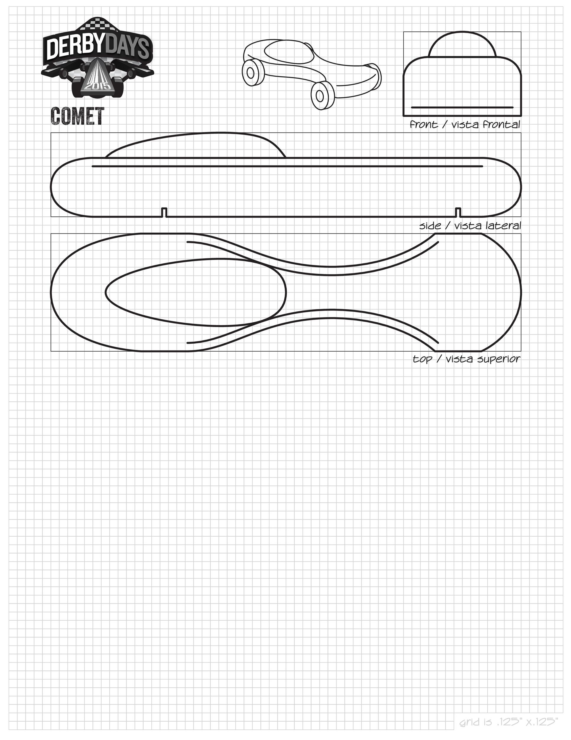 Vibrant image throughout printable pinewood derby templates