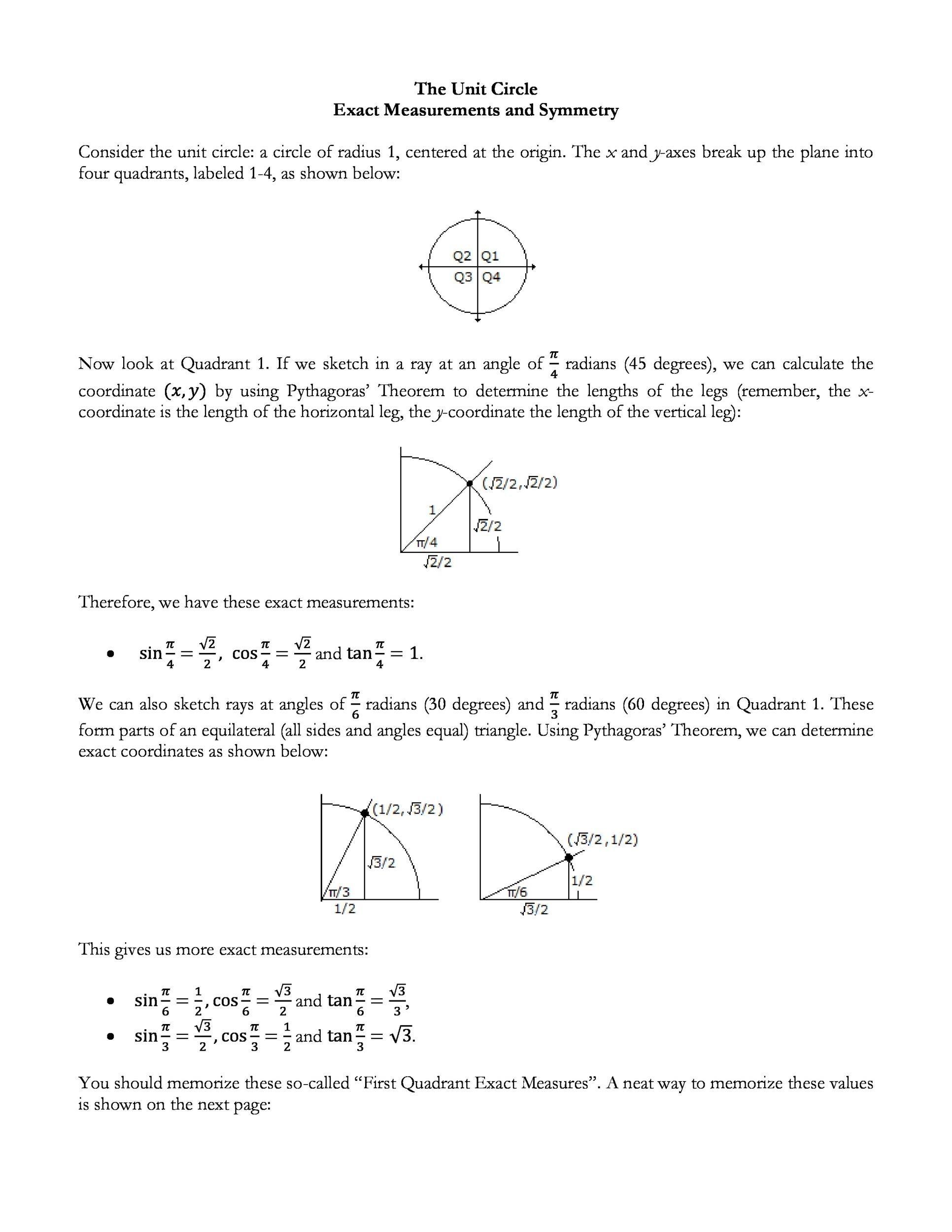 Free unit circle chart 19