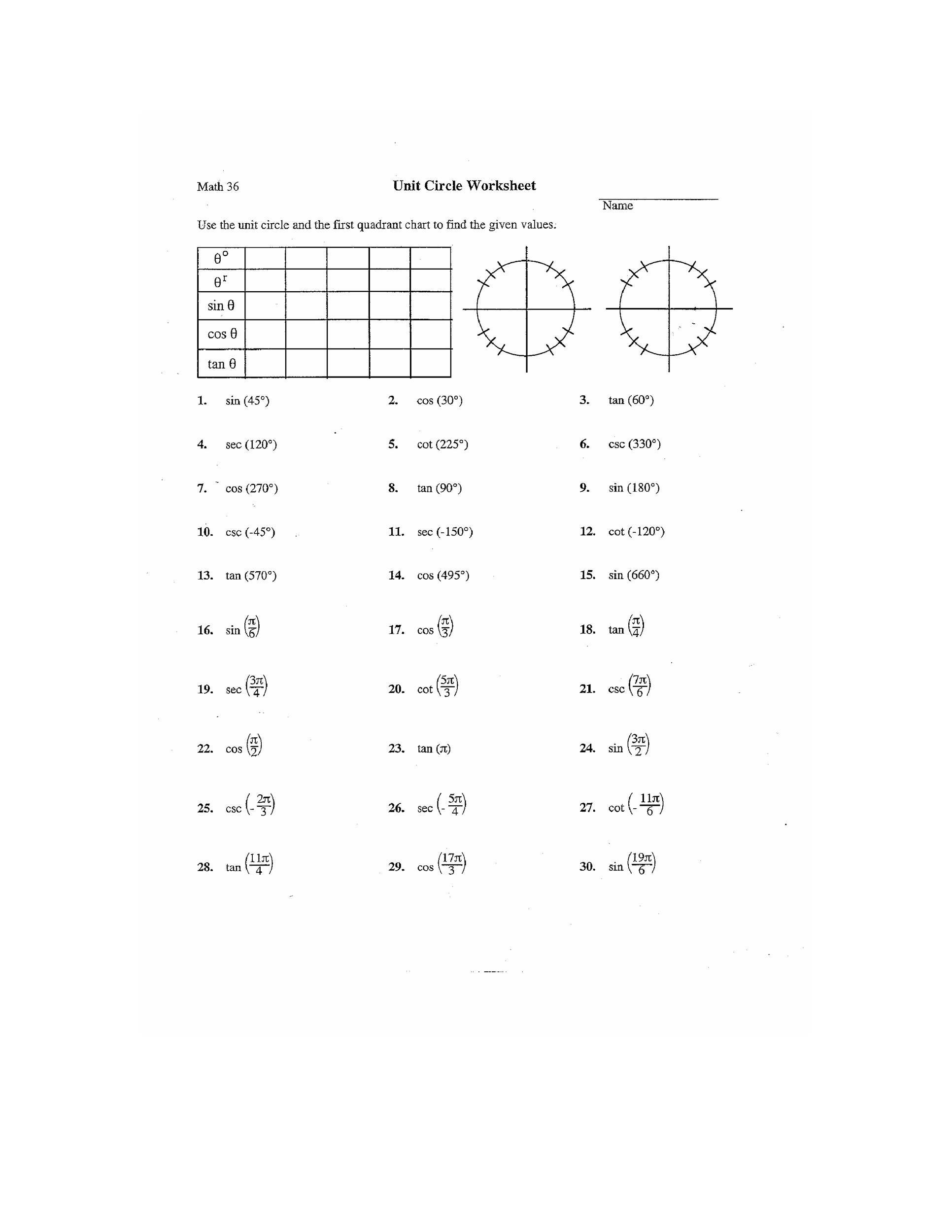 Free unit circle chart 26