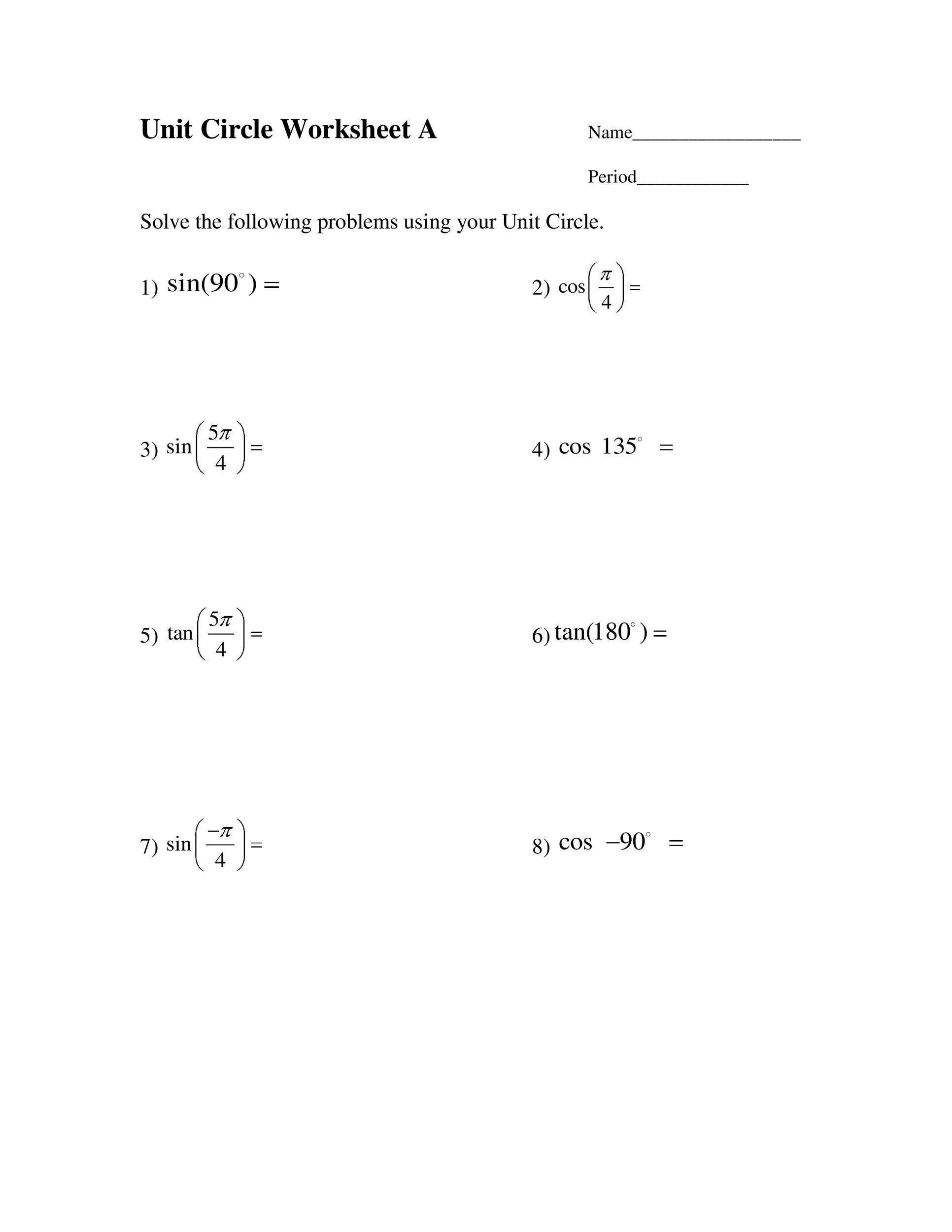 Free unit circle chart 28
