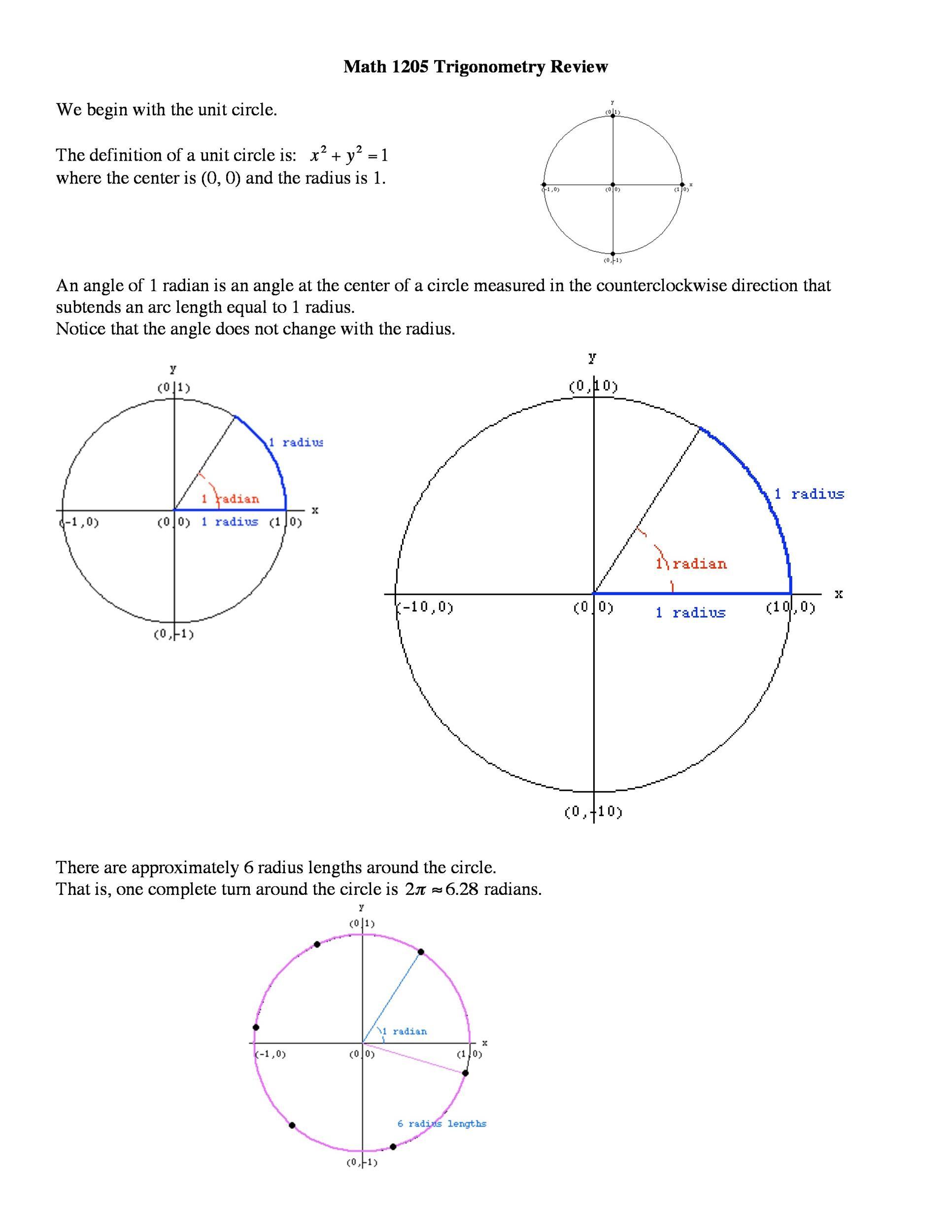 Free unit circle chart 42