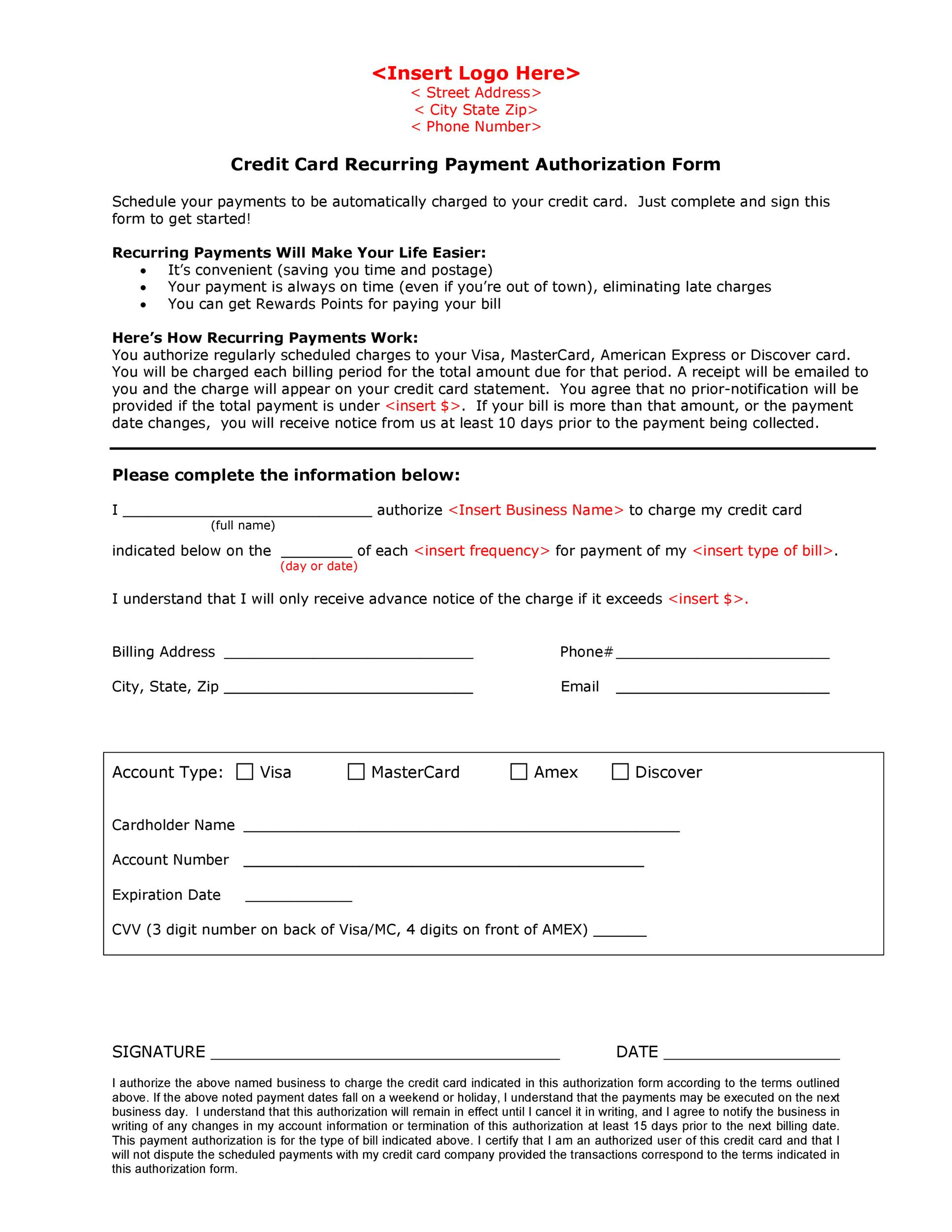 Card Form Template | 41 Credit Card Authorization Forms Templates