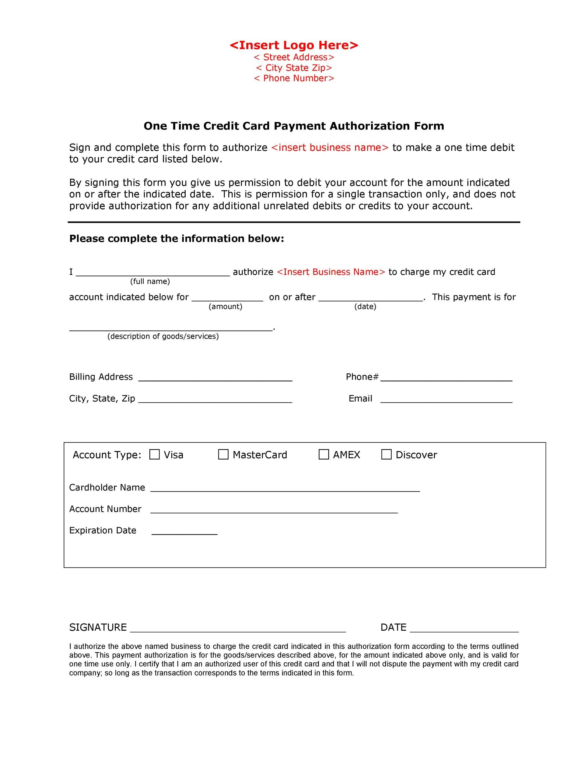 Free credit card authorization form template 03