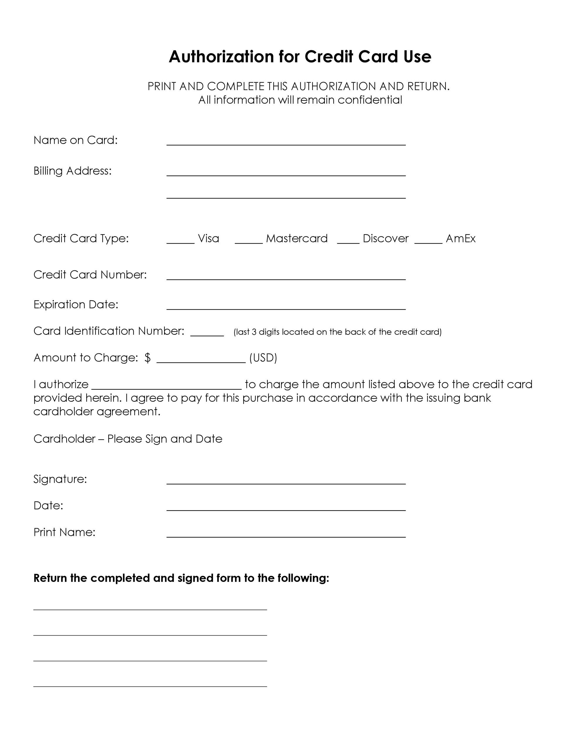 Free credit card authorization form template 05