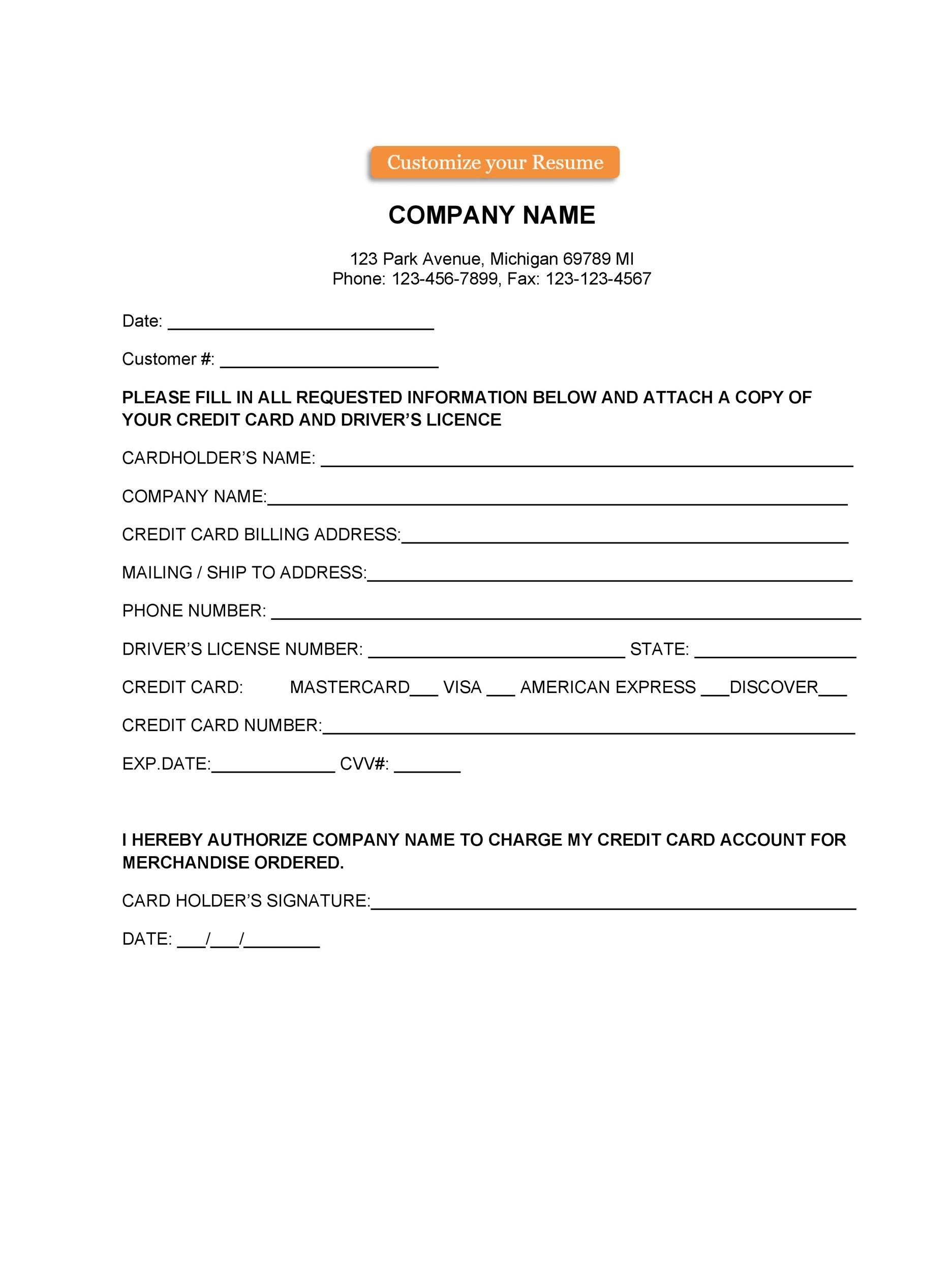 Free credit card authorization form template 06