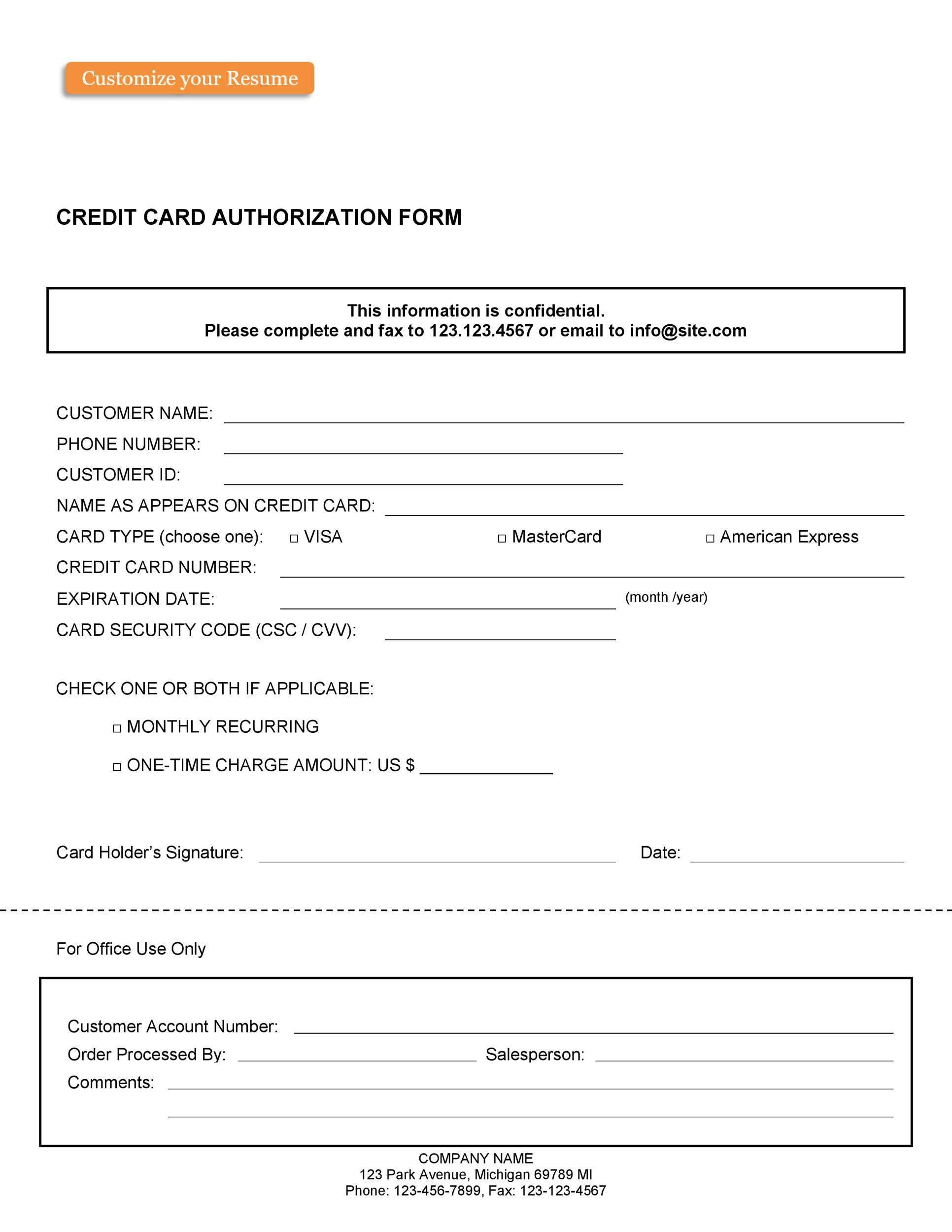 Free credit card authorization form template 07