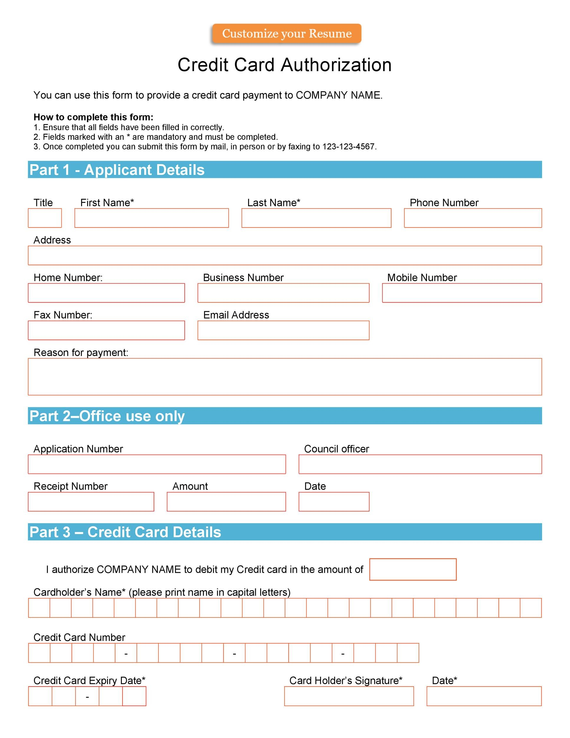Free credit card authorization form template 08