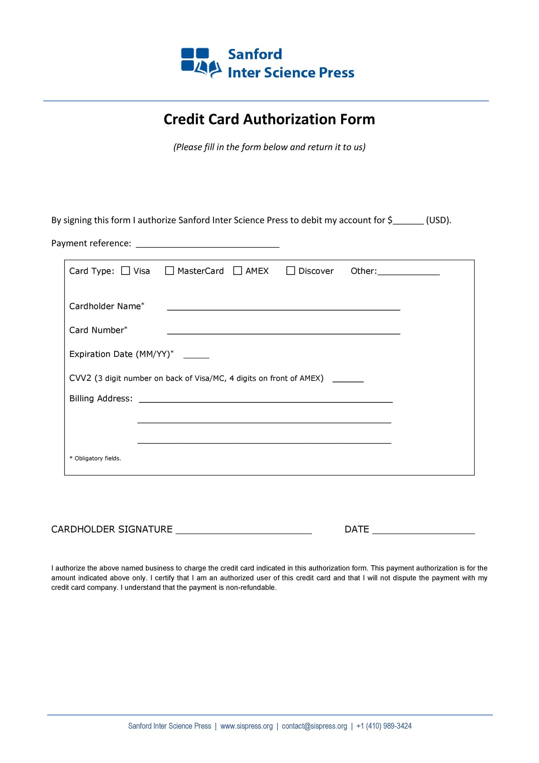 Free credit card authorization form template 10