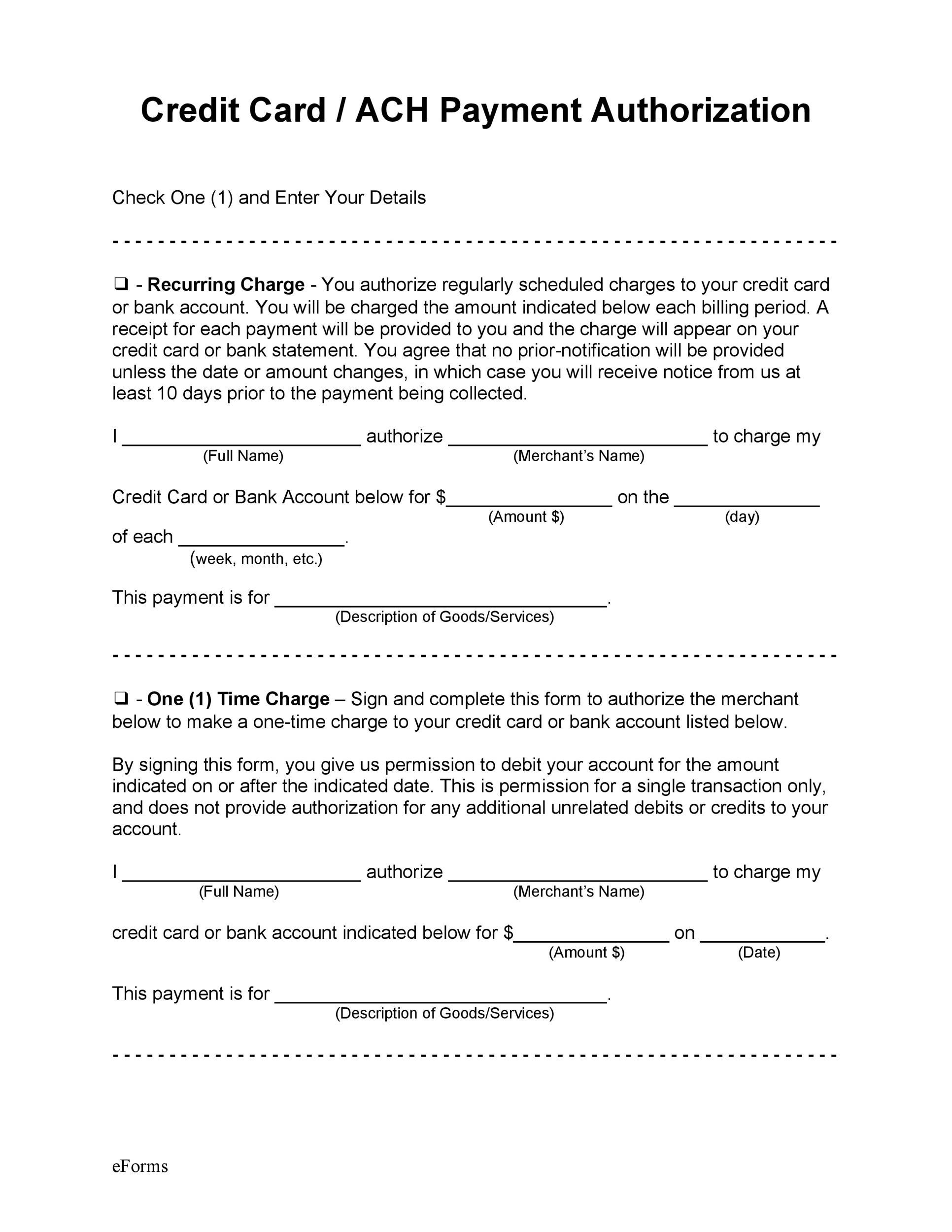 Free credit card authorization form template 14