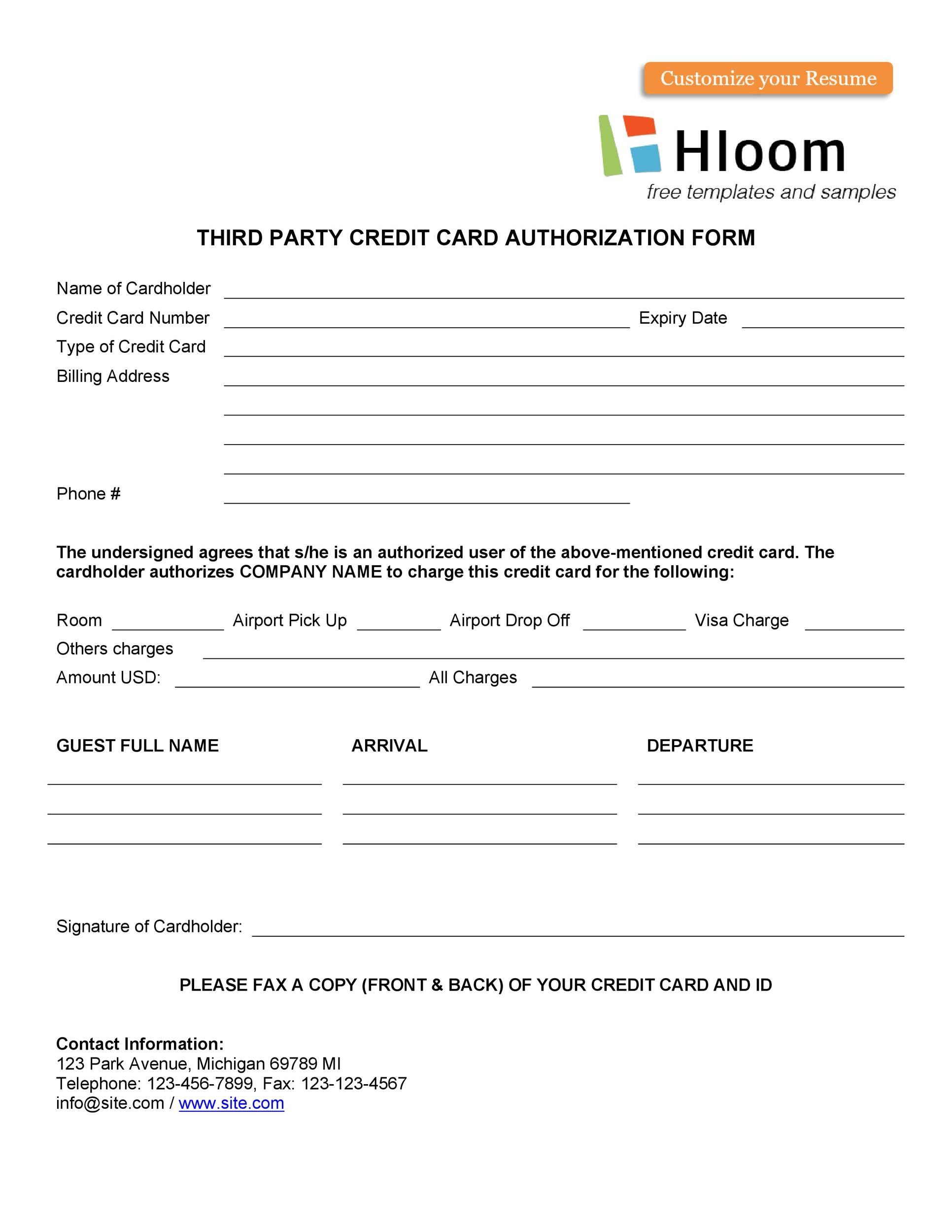 Free credit card authorization form template 15