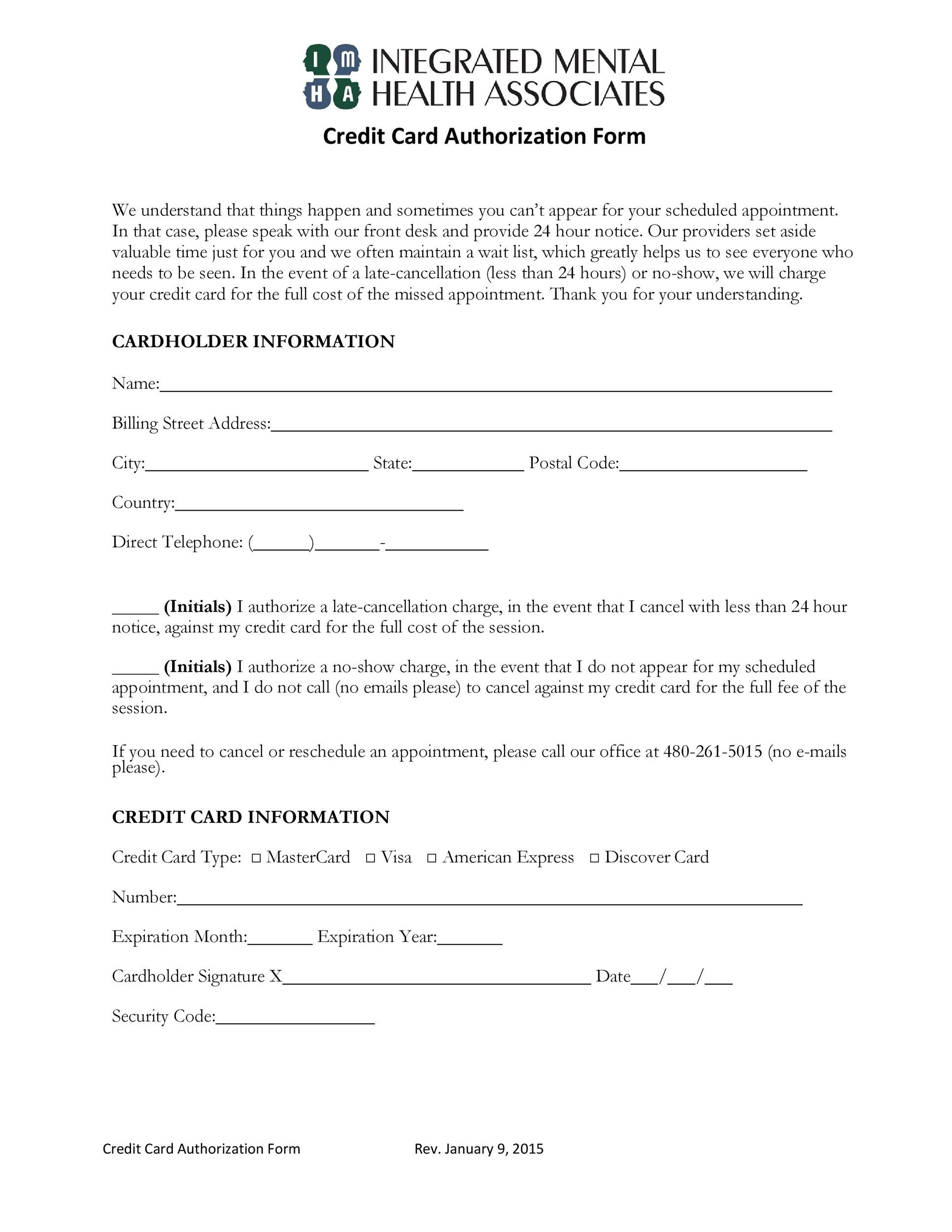 Free credit card authorization form template 18