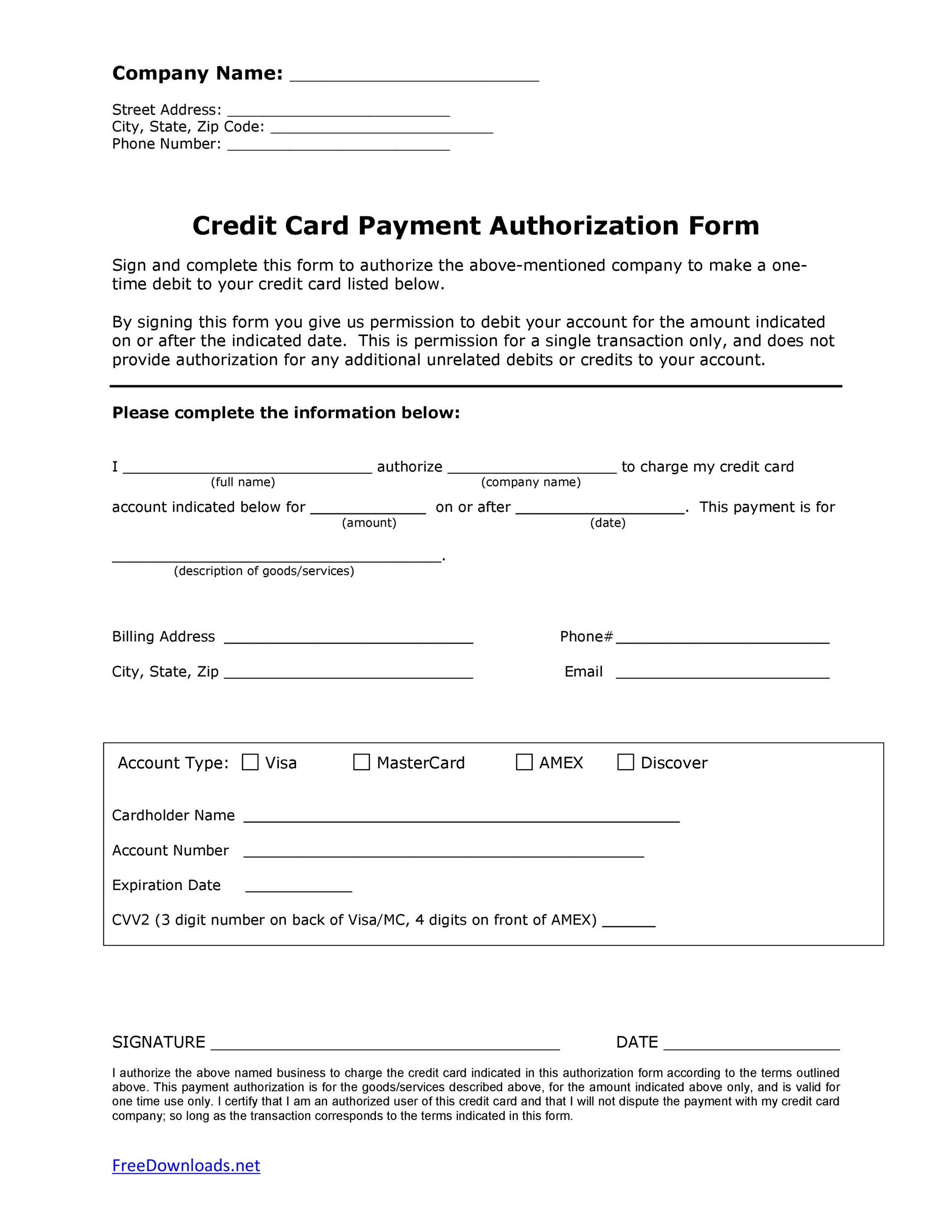 Free credit card authorization form template 19