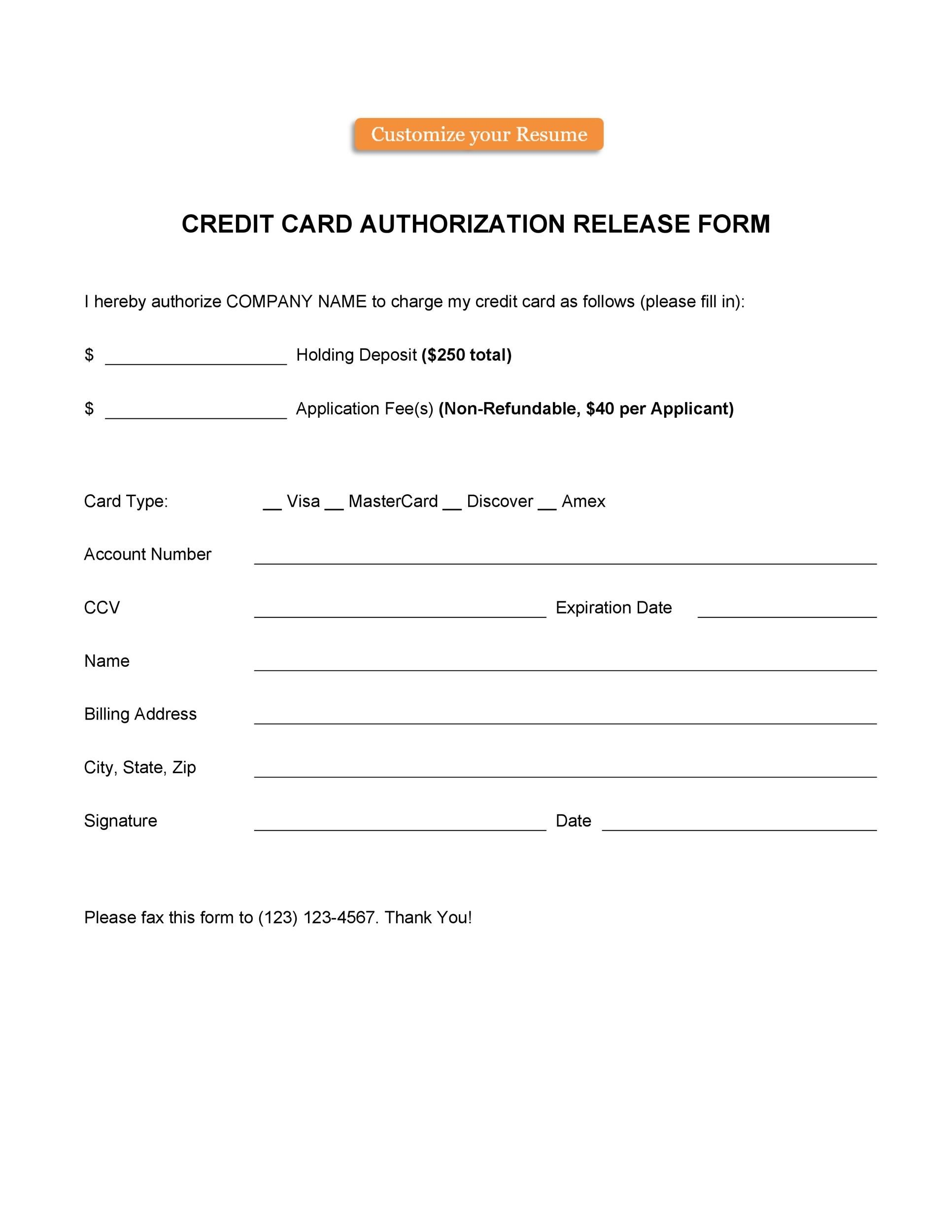 Free credit card authorization form template 21