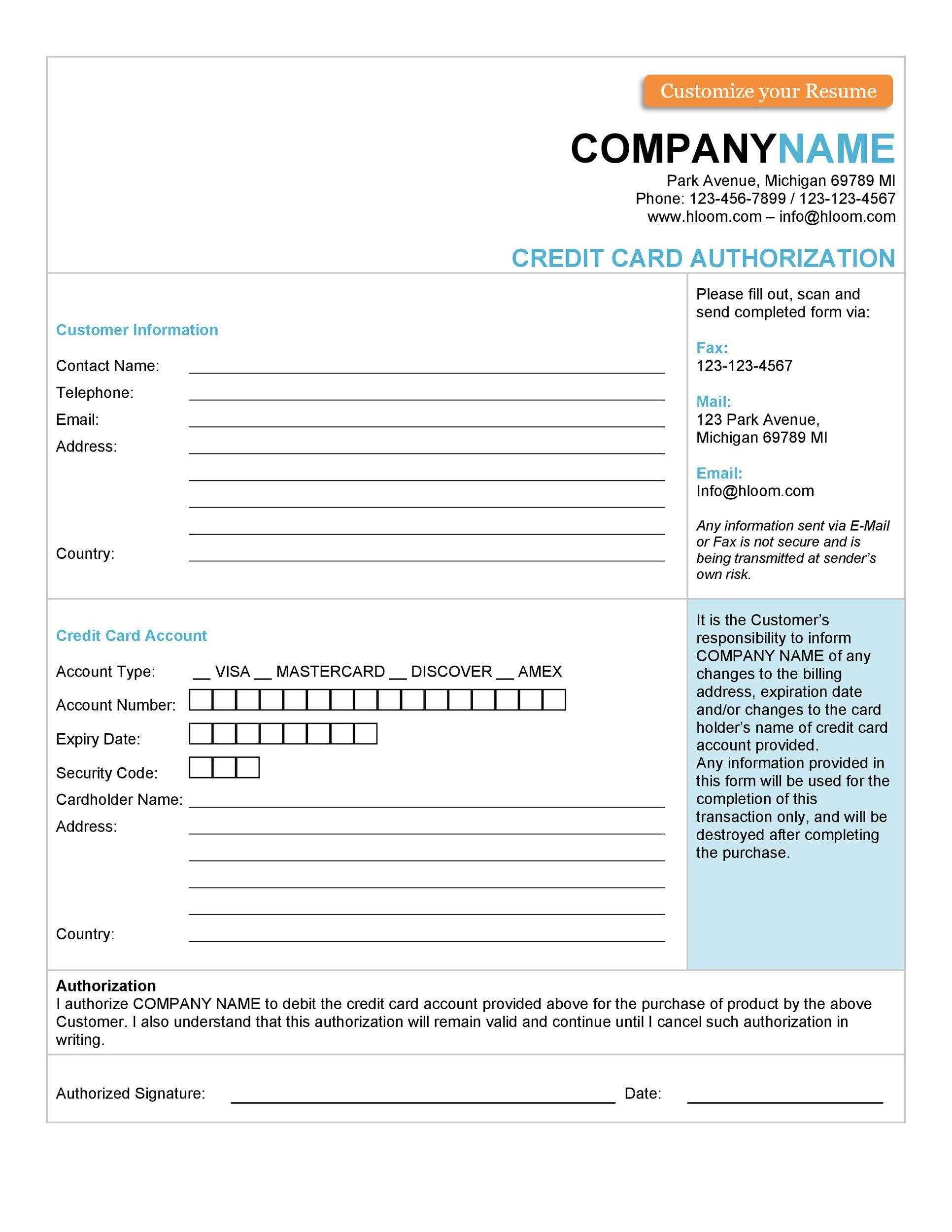 Free credit card authorization form template 23