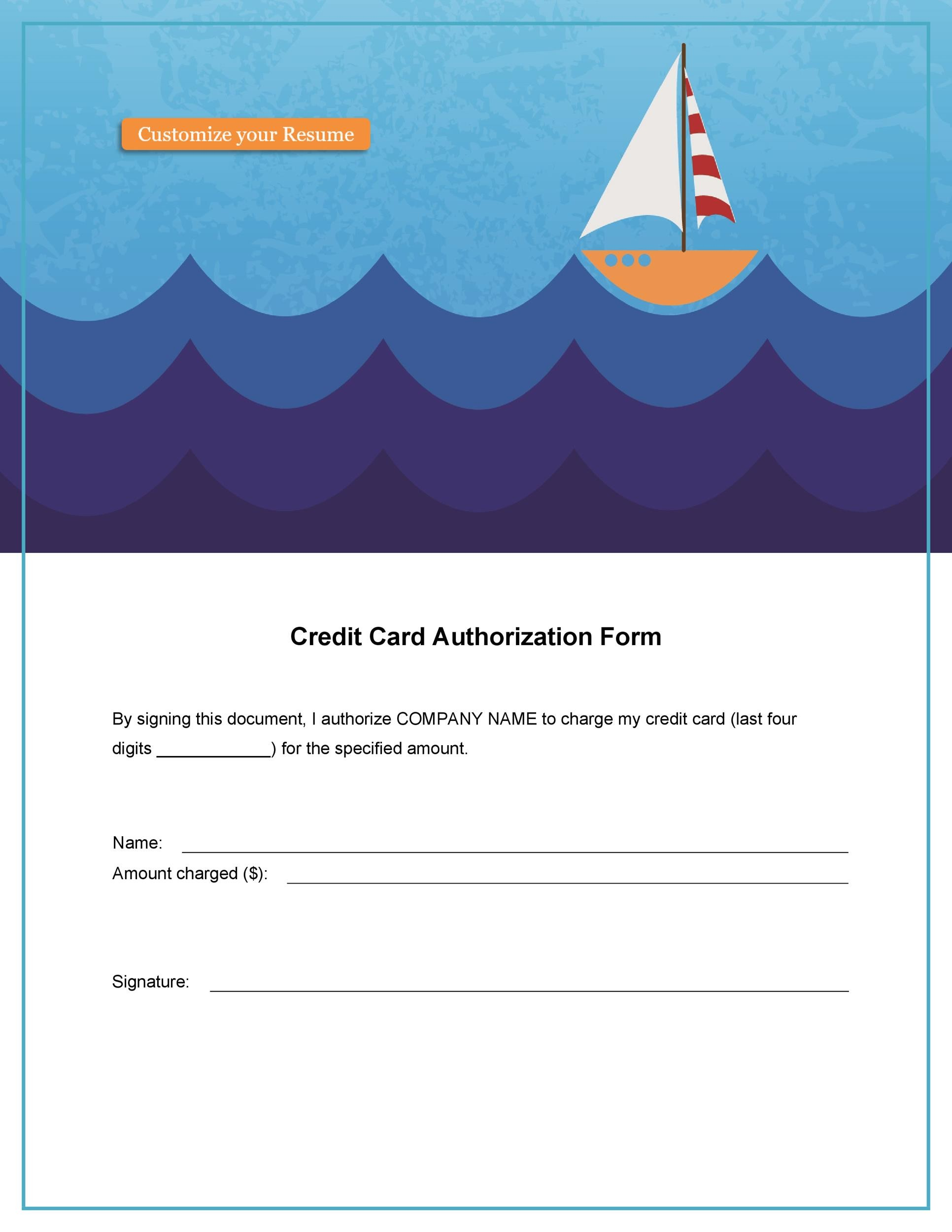 Free credit card authorization form template 25
