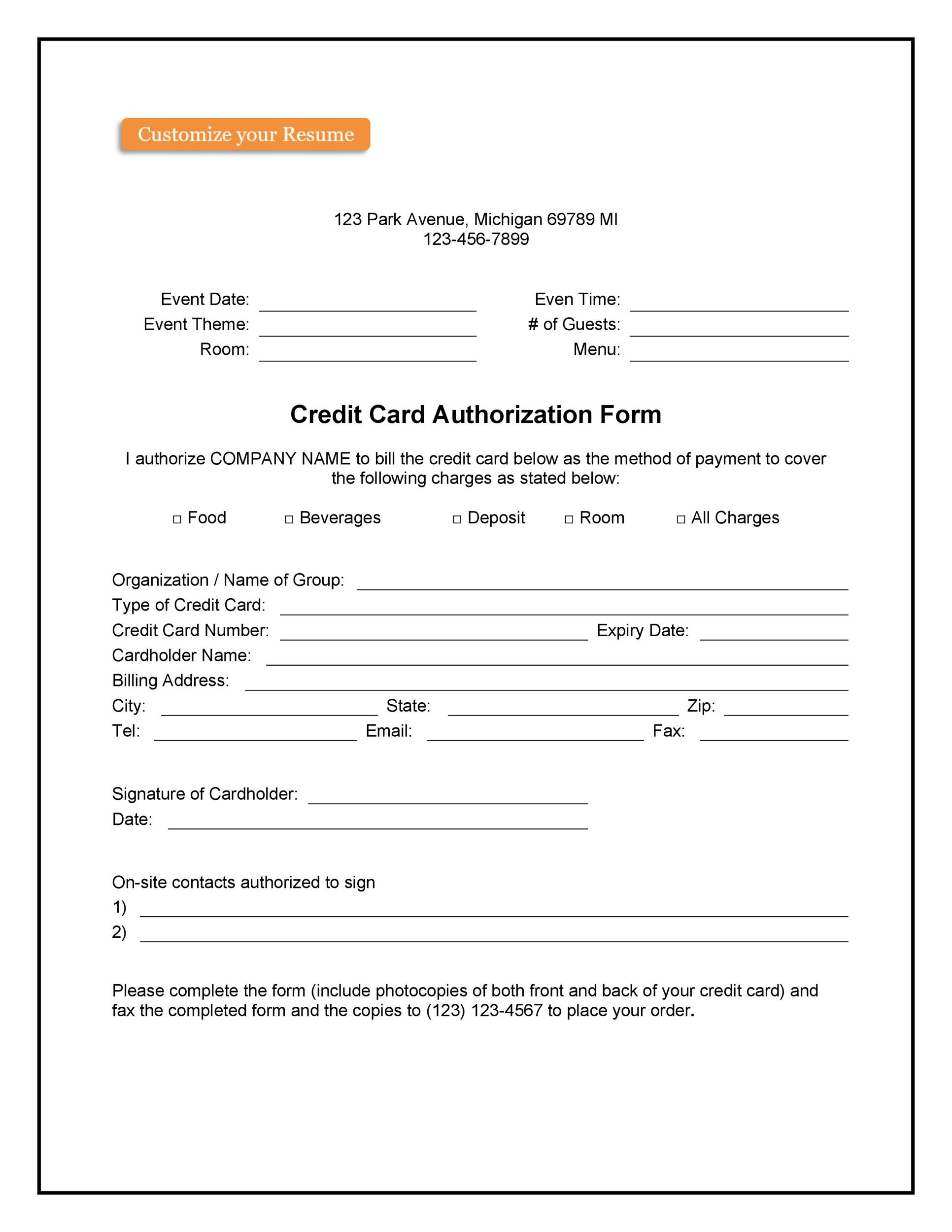 Free credit card authorization form template 26