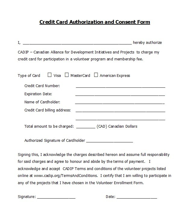 Free credit card authorization form template 27