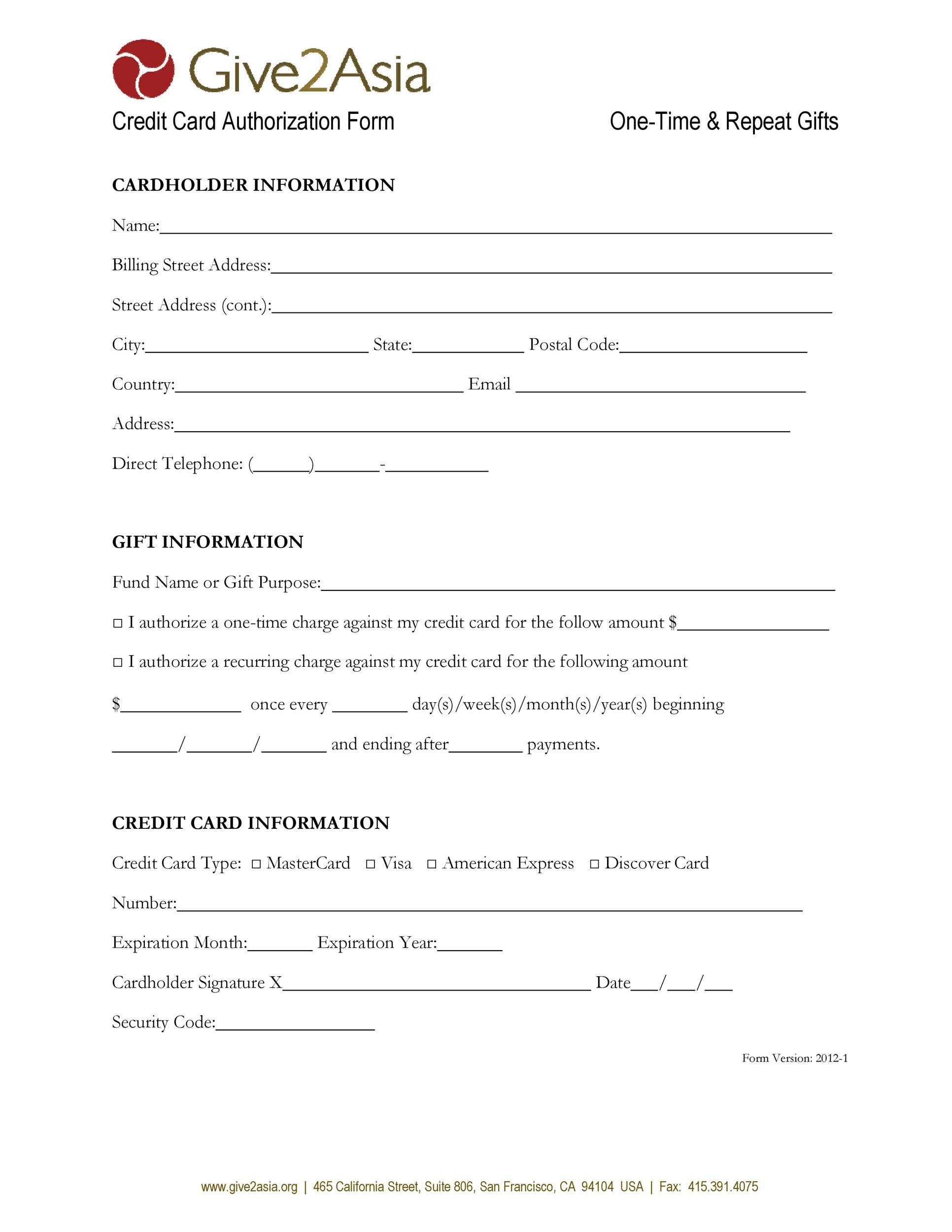 Free credit card authorization form template 28