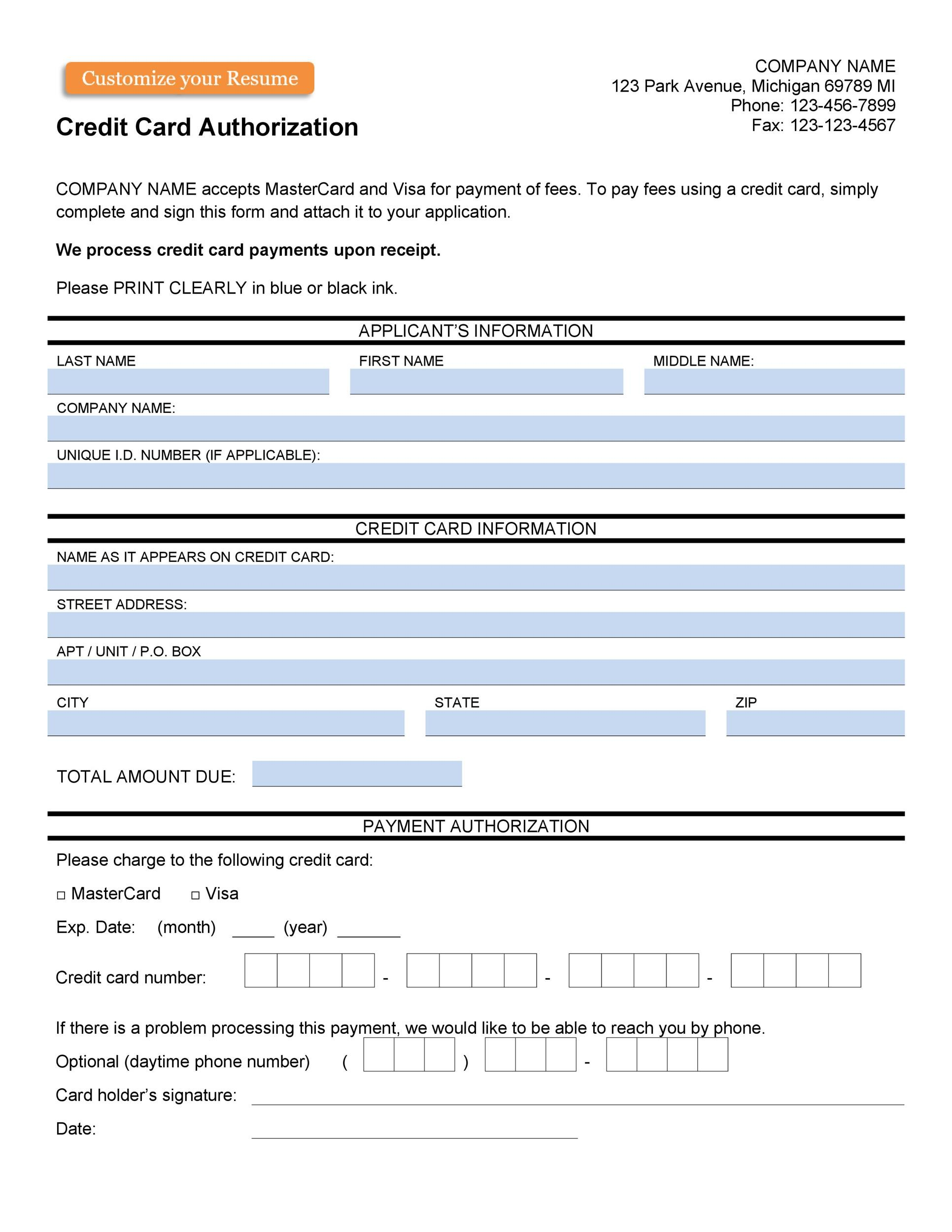 Free credit card authorization form template 29